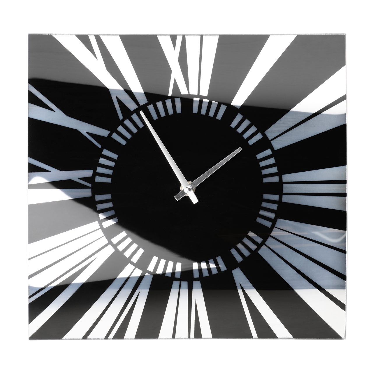 Curved glass wall clock with black and mirror detail ebay for Black glass wall clock