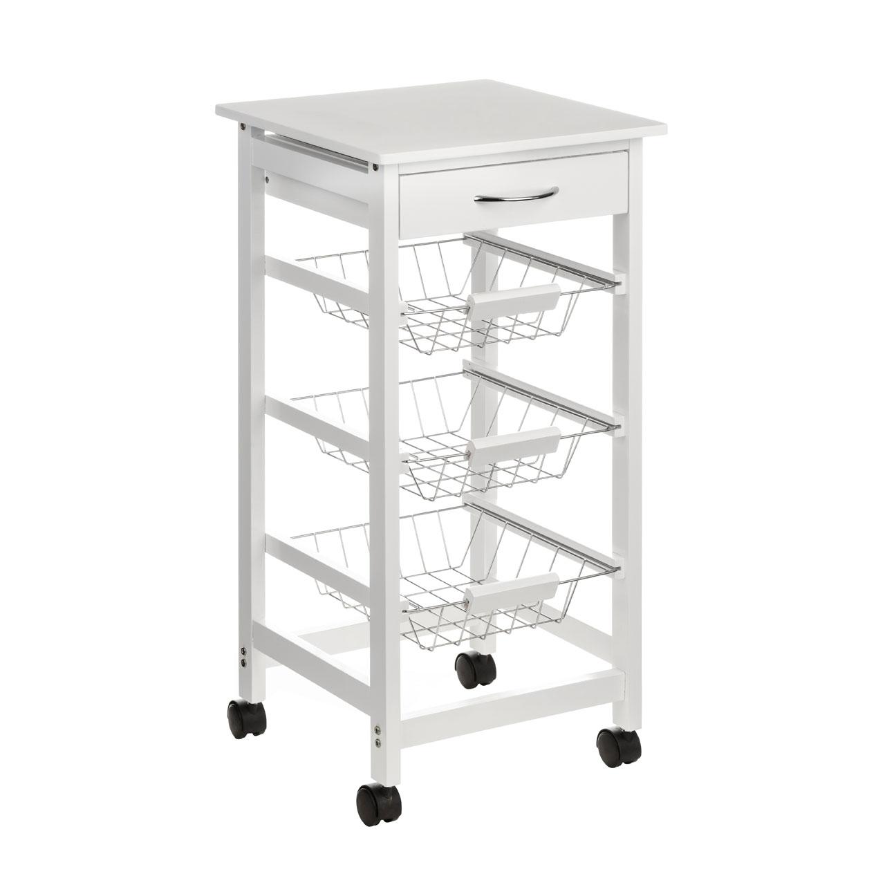 White Kitchen Trolley 3 tier trays 1 drawer moveable white pine wood kitchen trolley