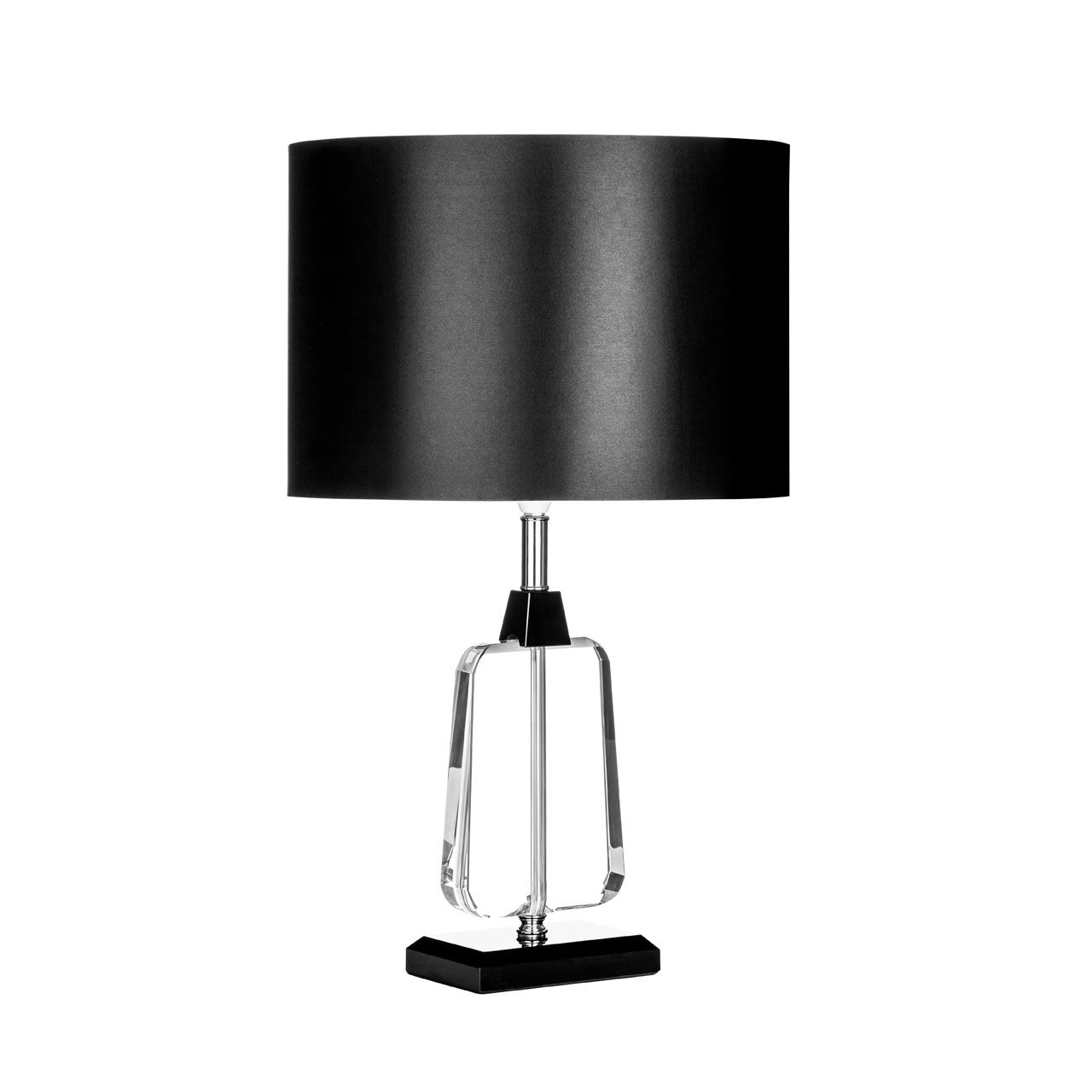 tabatha table lamp with crystal base and black fabric shade ebay. Black Bedroom Furniture Sets. Home Design Ideas