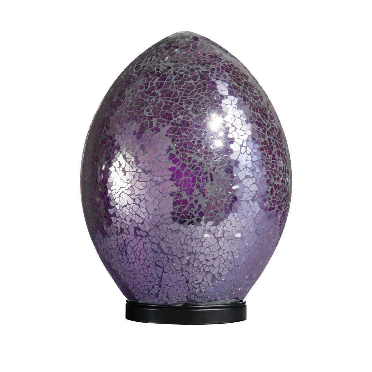 Mosaic Purple Glass Large Egg Lamp With Black Base.