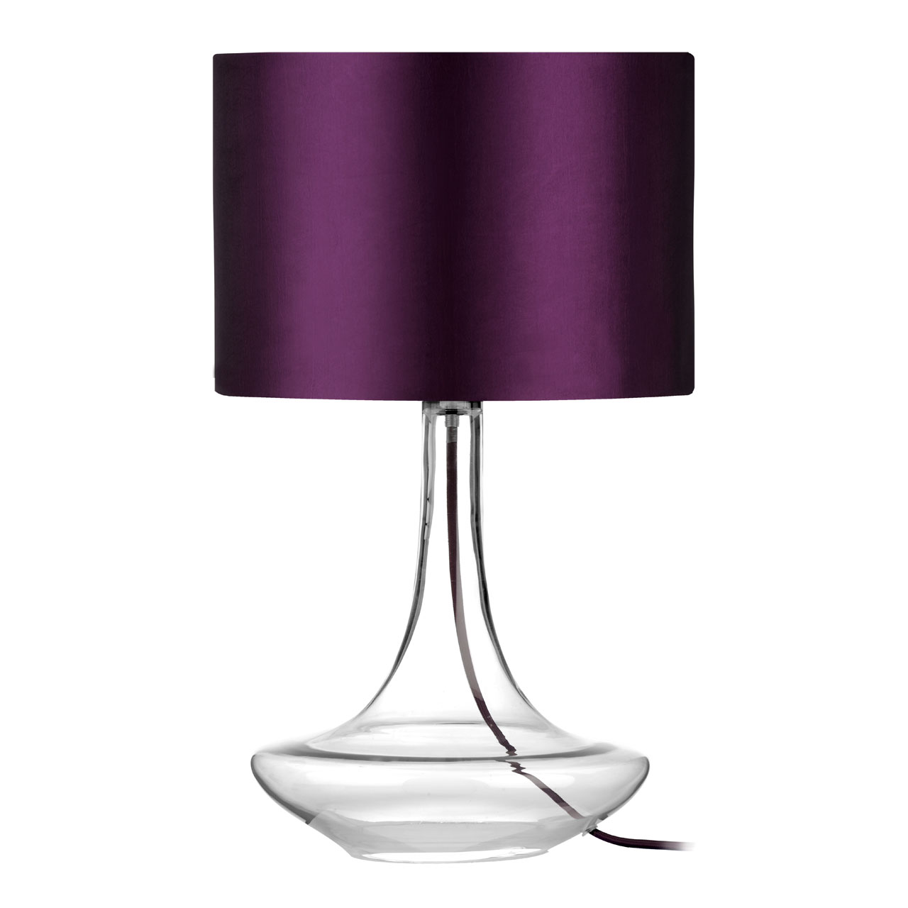 Clear Glass Base Table Lamp With Purple Shade