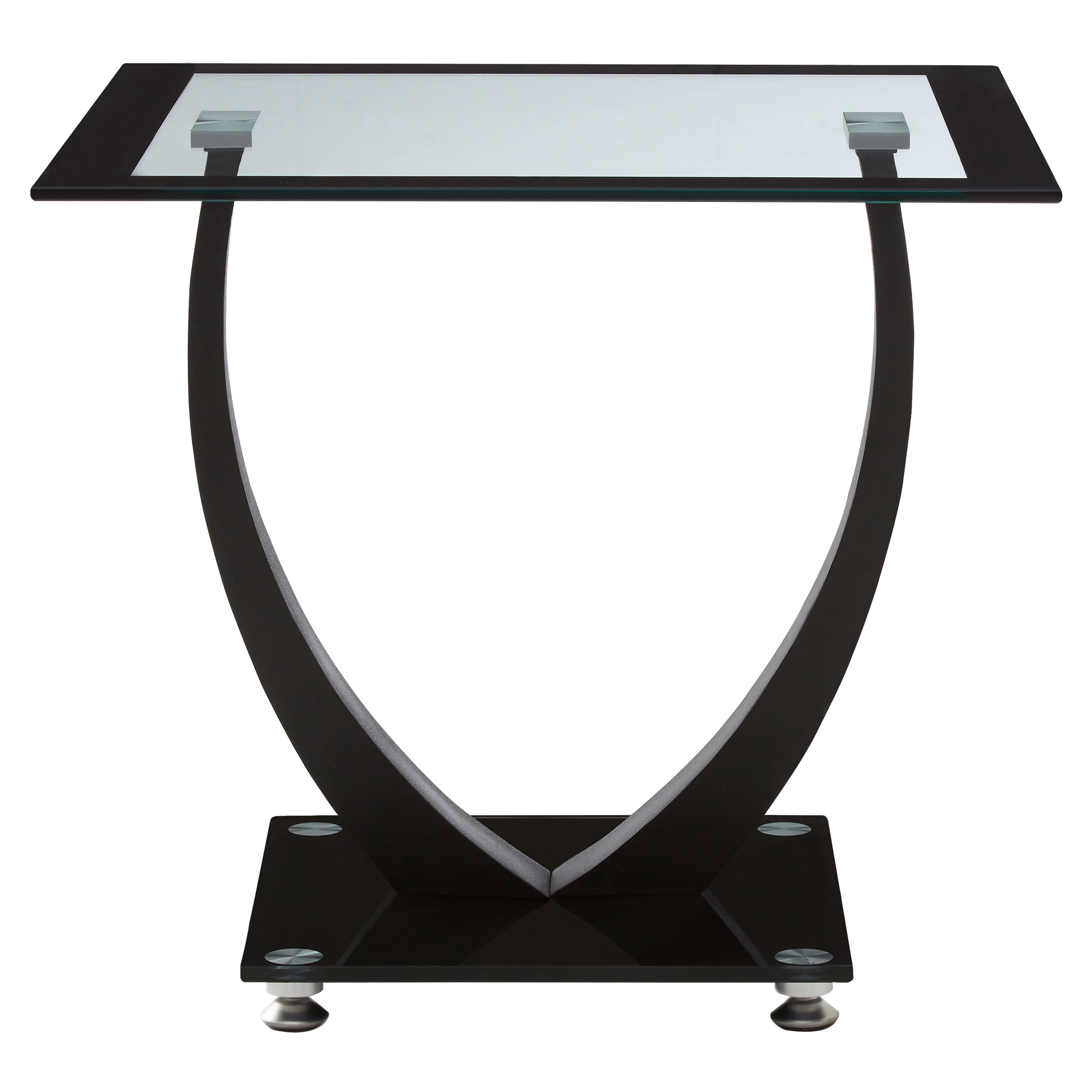 Buy Black Glass And Black Metal Square Side Table From: Square Tempered Clear Black Glass Side Table Metal Frame
