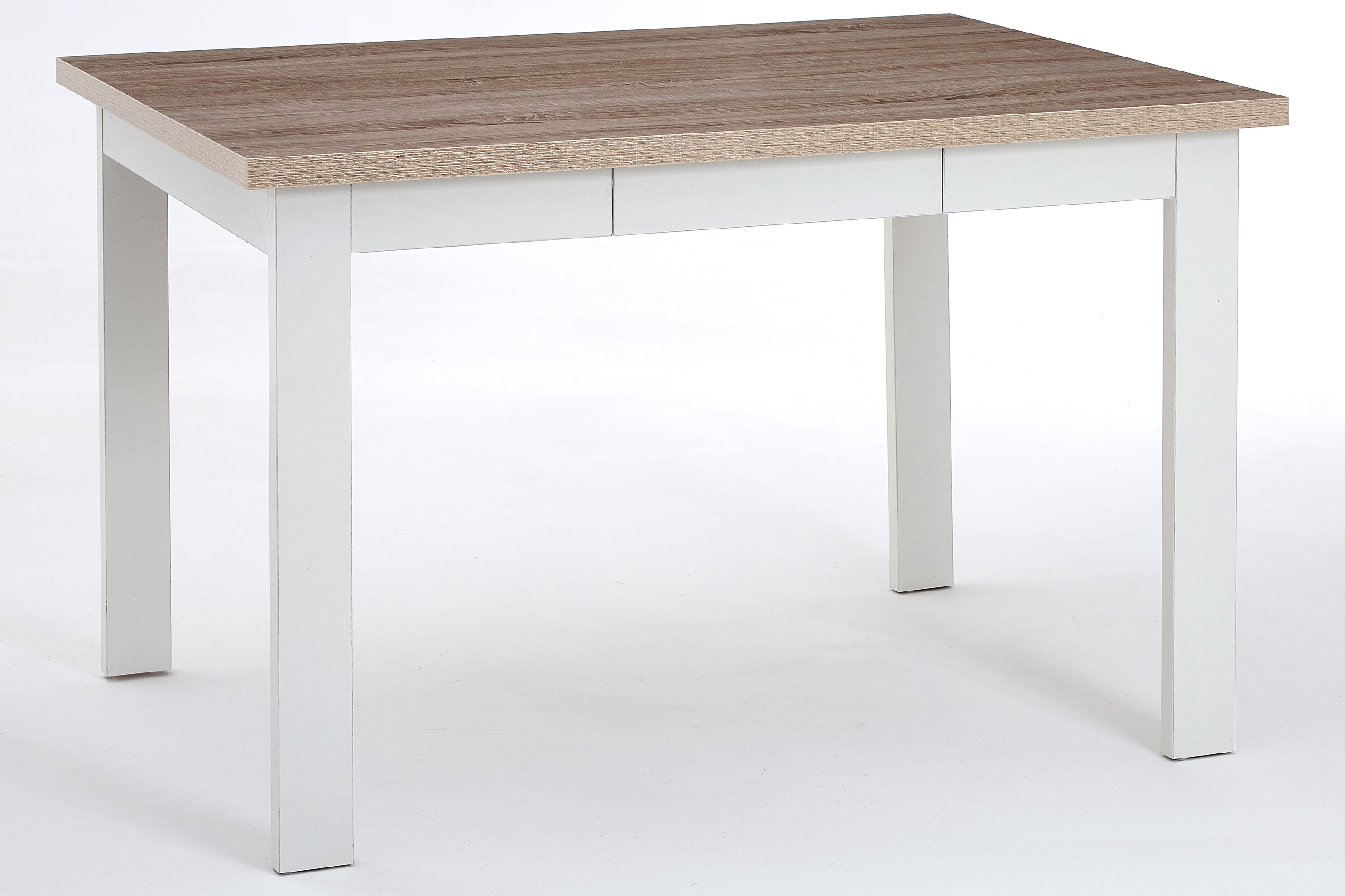 St Ives Large Dining Table Traditional Oak Veneer White Finish Space 6 People