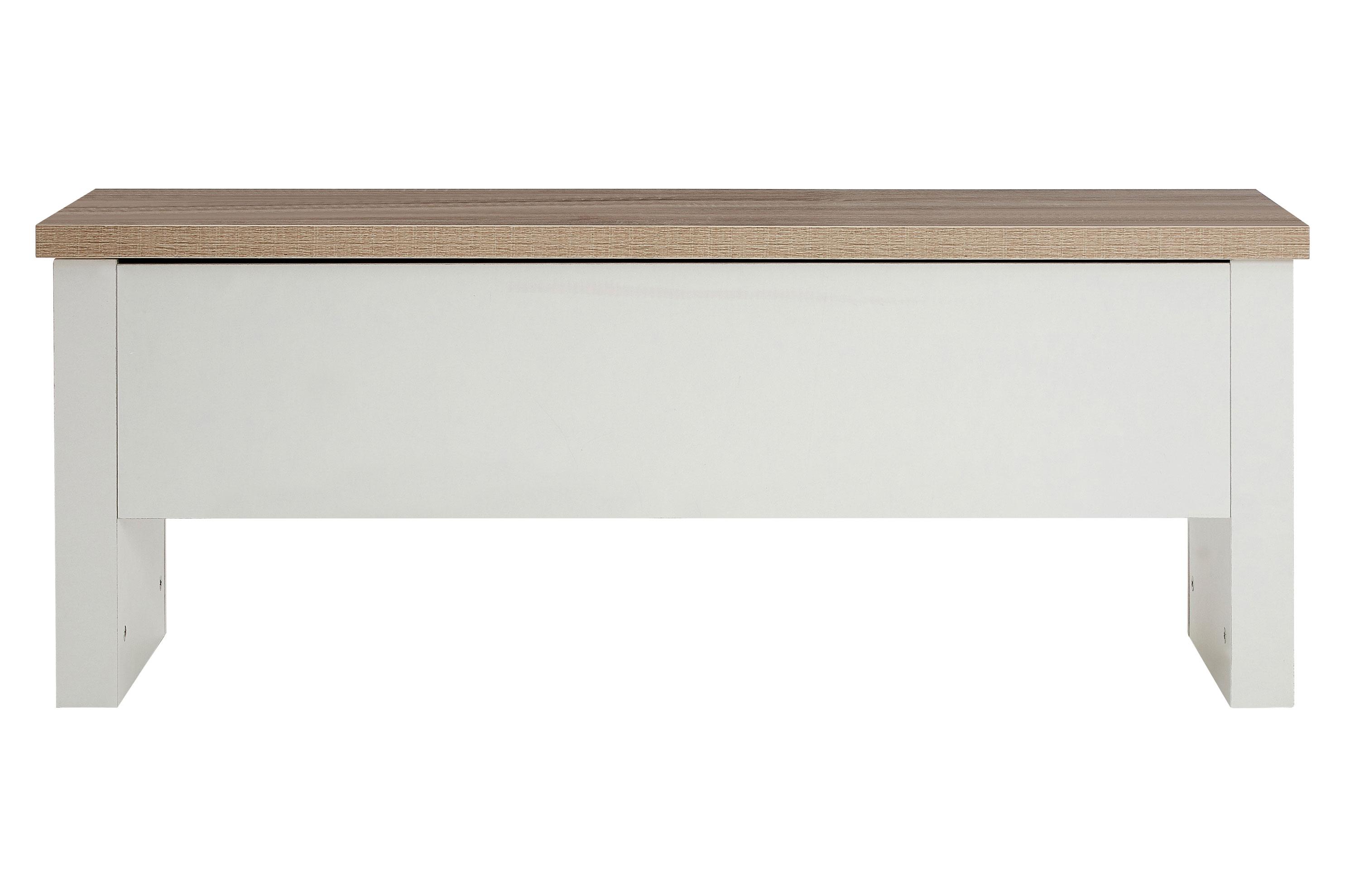 St ives storage ottoman bench oak veneer white finish for Oak ottoman storage