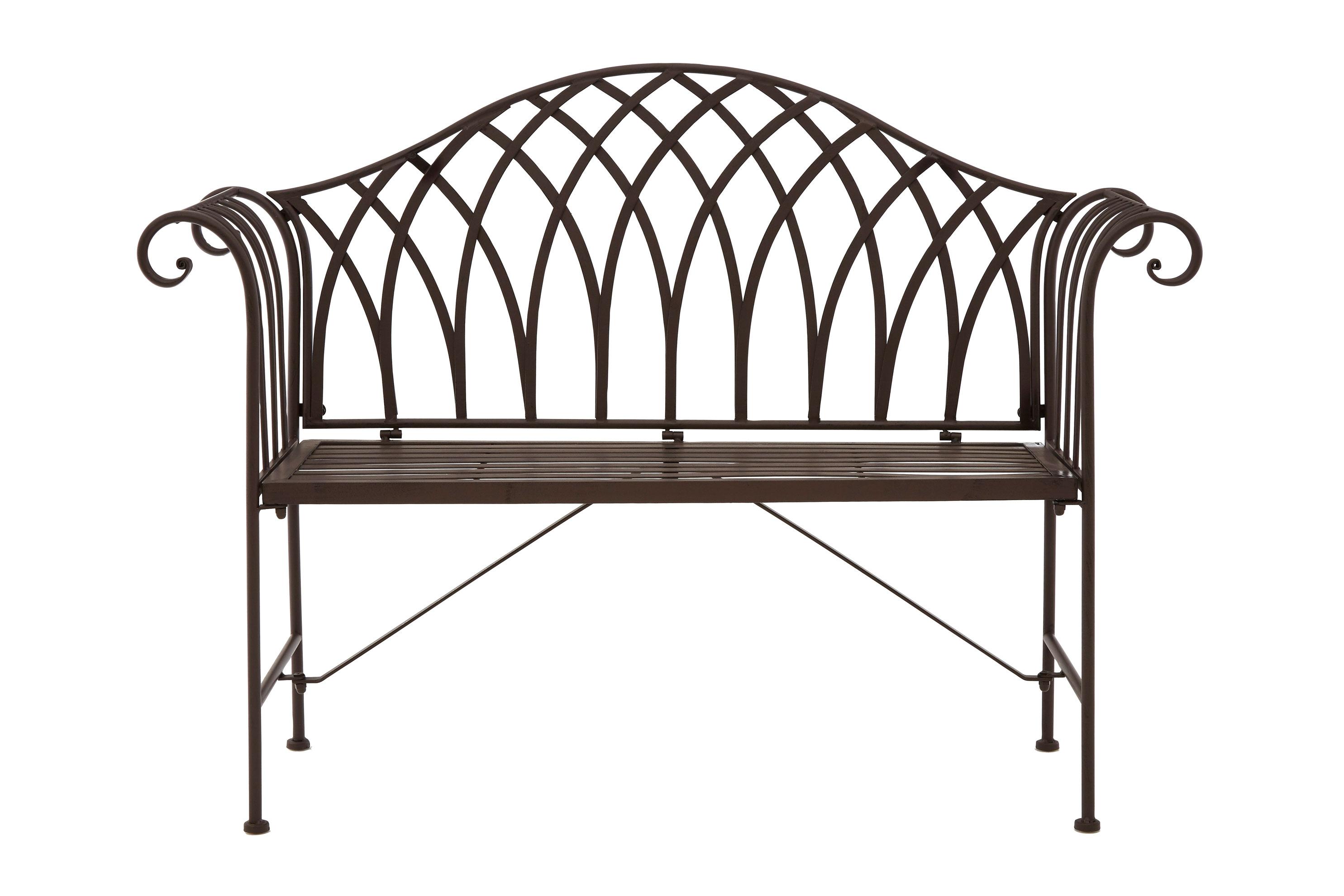 Ornate Wrought Iron Metal Bench Antique Brown Patio Garden Decorative Ebay
