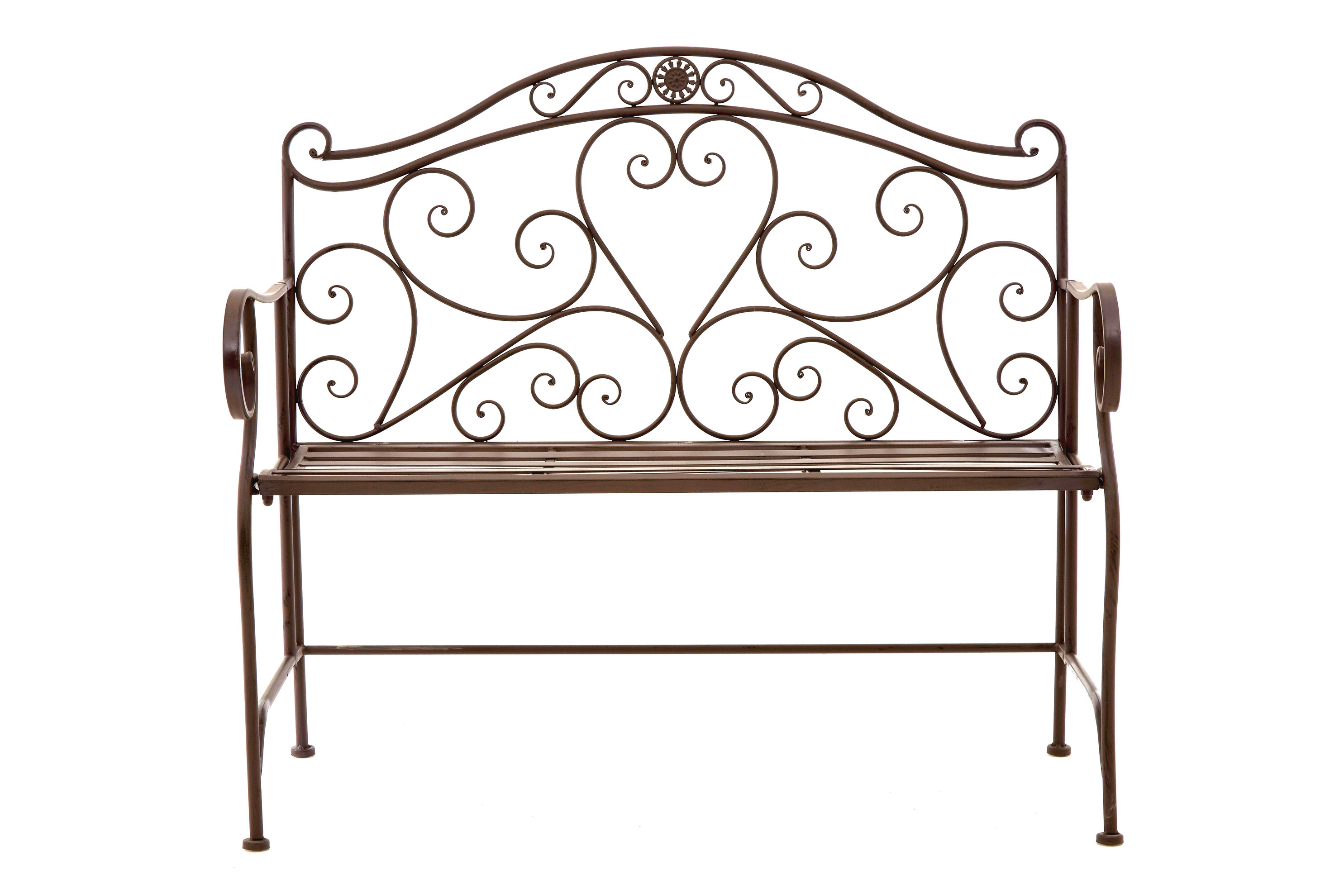 Ornate wrought iron metal bench antique brown patio garden ebay Wrought iron outdoor bench