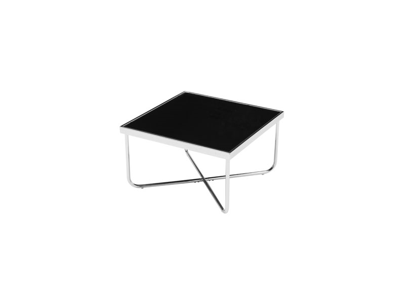 Living Room Square Coffee Table Black Glass Criss Cross Chrome Silver Legs Ebay