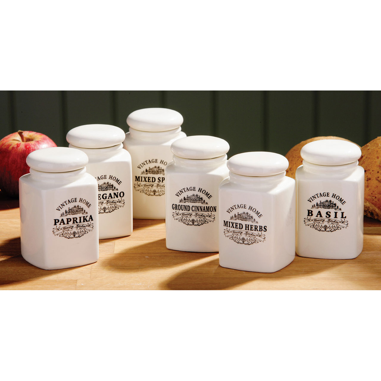 Cream Kitchen Storage Jars: Vintage Home Country Kitchen Set Of 6 Sealed Lid Spice