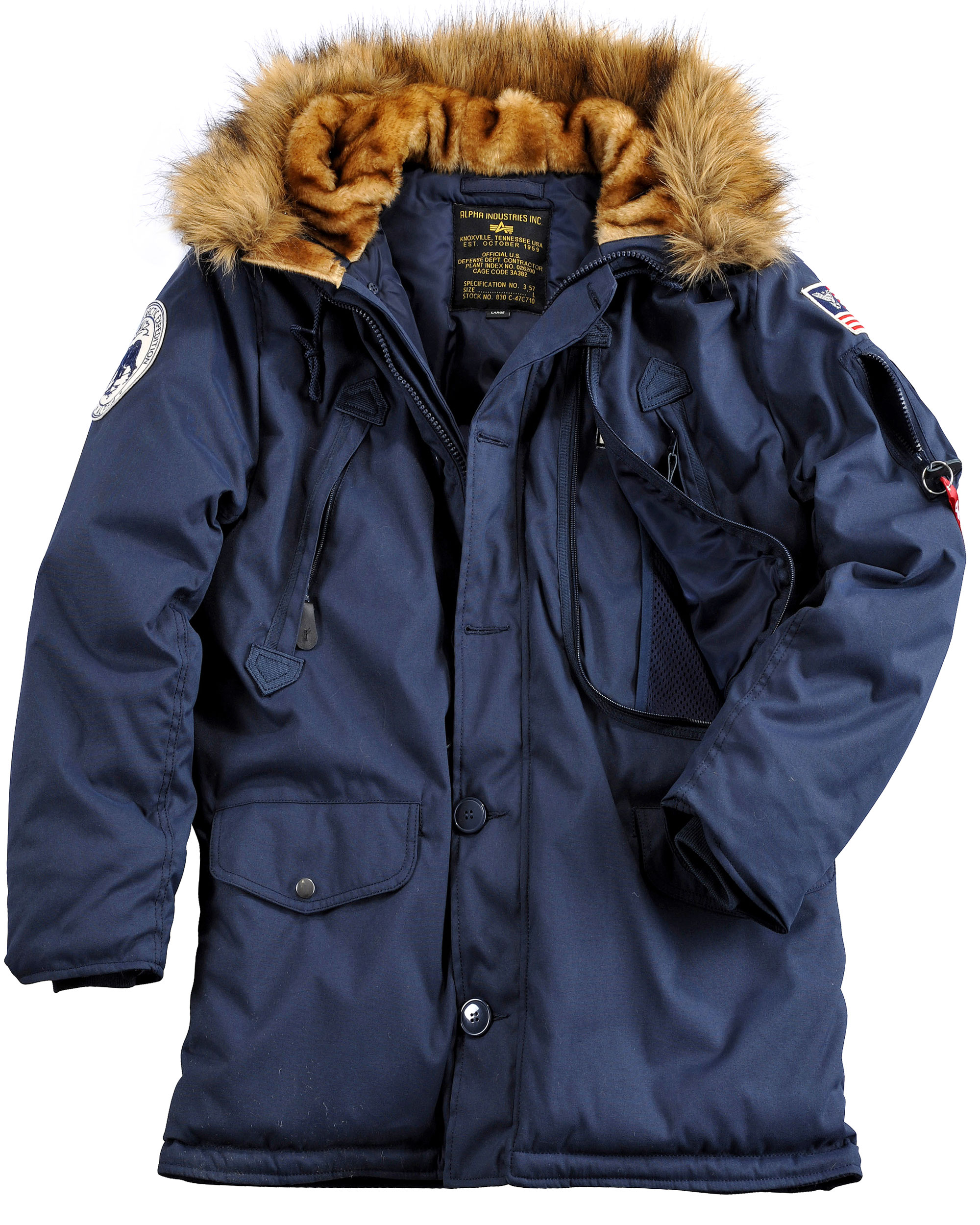 Alpha Industries Mens Zip Through Polar Parka Jacket With Faux Fur ...