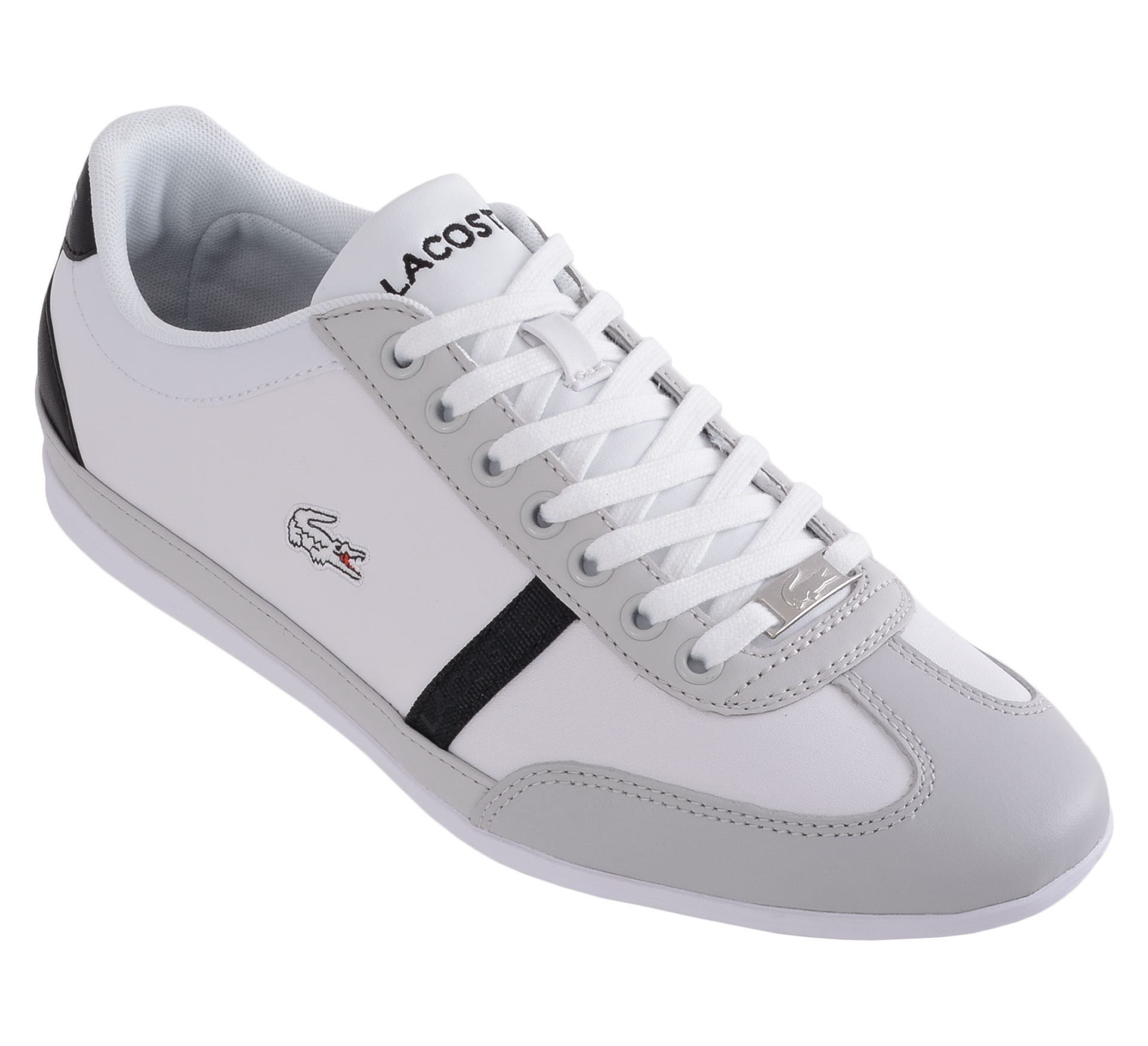 New Mens Lacoste Misano Sport SCY White Grey Leather Fashion Trainers Flat Shoes | EBay