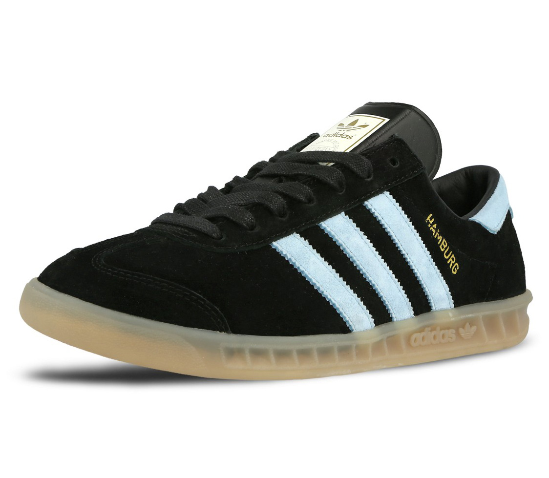 Mens Adidas Hamburg Black Blue Suede Retro Boys Shoes ...