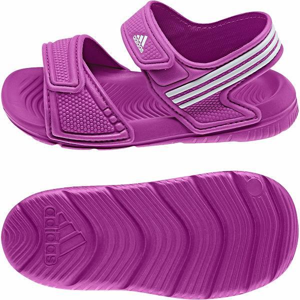 Adidas Akwah 9 Older Girls Kids Beach Pool Comfort Purple Sandals Size 10-6 New