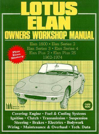 lotus elan owners manual 1962 1974 service repair book. Black Bedroom Furniture Sets. Home Design Ideas
