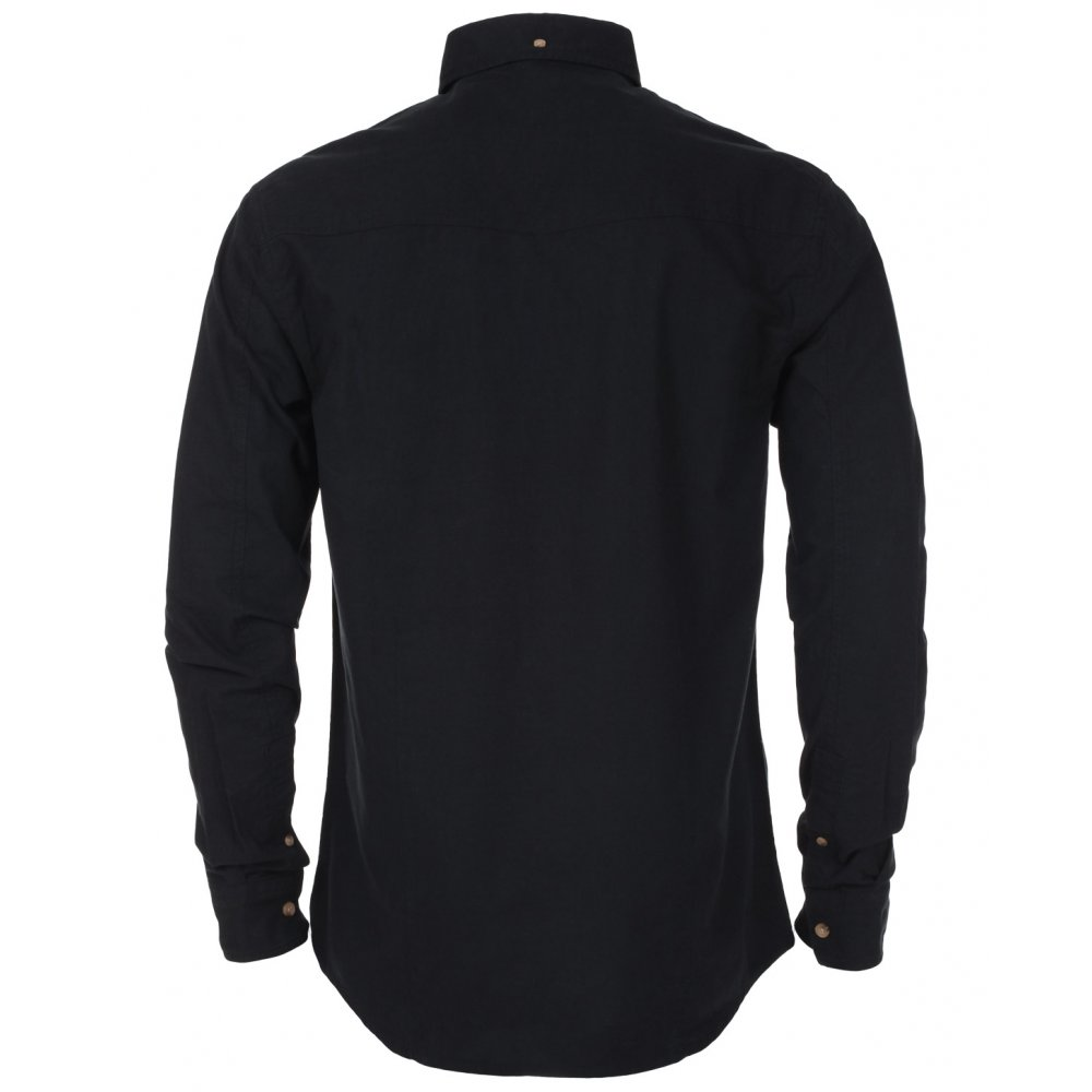 Industrialize Mens Black Cotton Long Sleeve Oxford Shirt Top | eBay