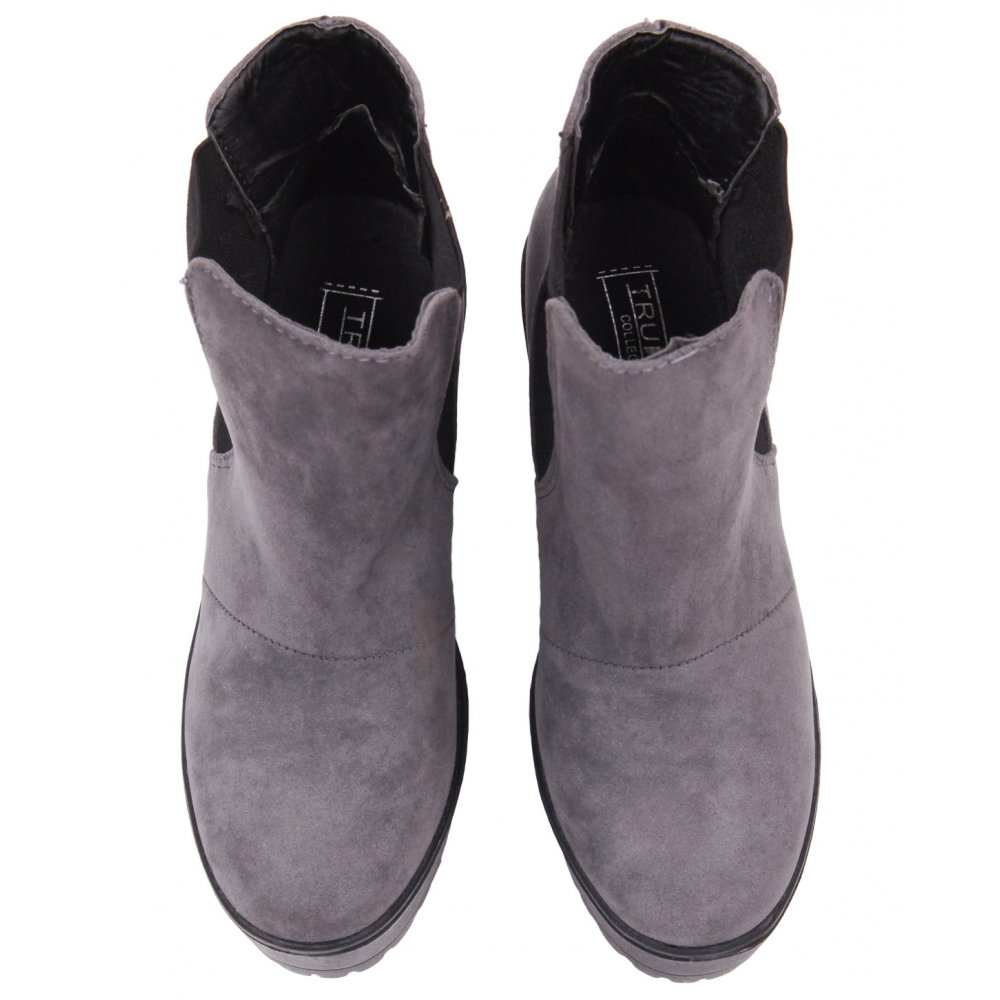 Blue Inc Woman Womens Grey Chelsea Ankle Boots Rigid Sole Suede ...