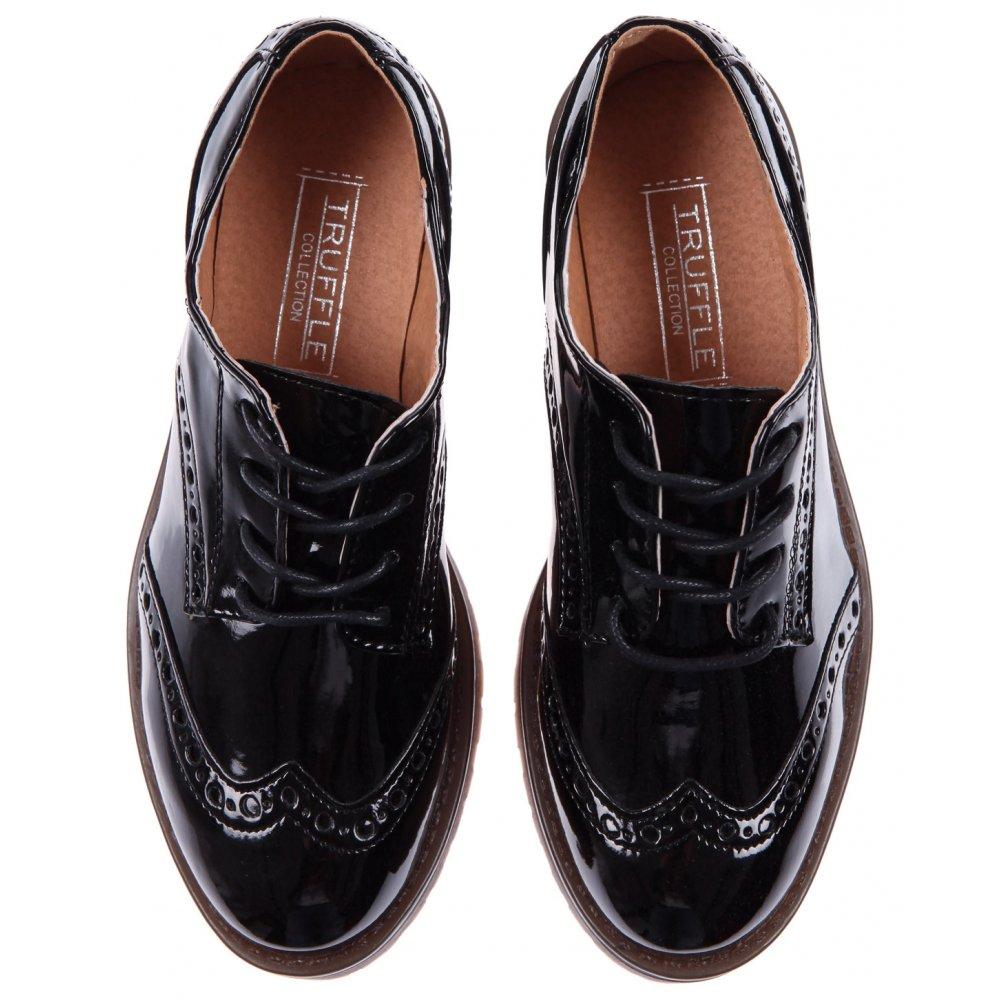 Black Patent Ladies Brogue Shoes