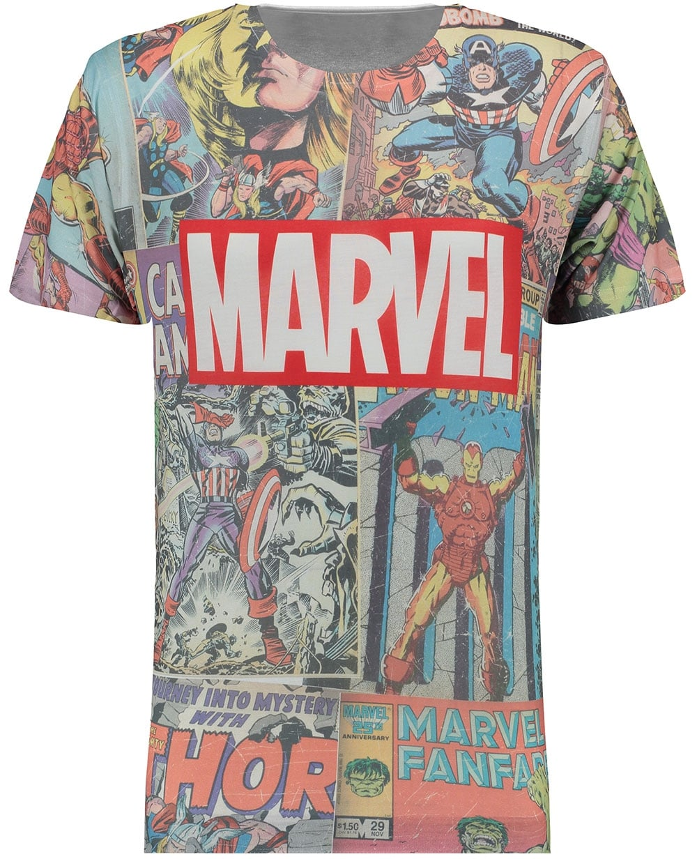 Branded T-Shirts Mens White Official Marvel Retro Comic ...