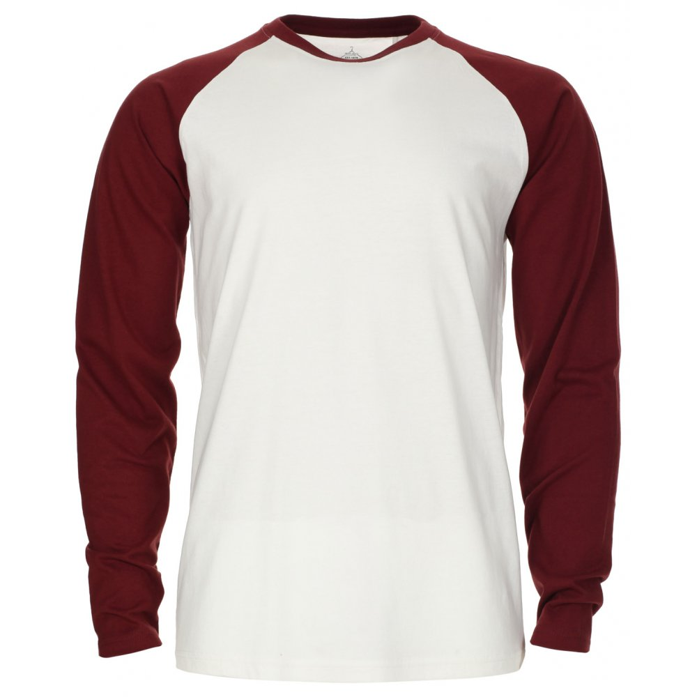 Industrialize Mens Cream Maroon Contrast Long Sleeve T-Shirt Tee ...