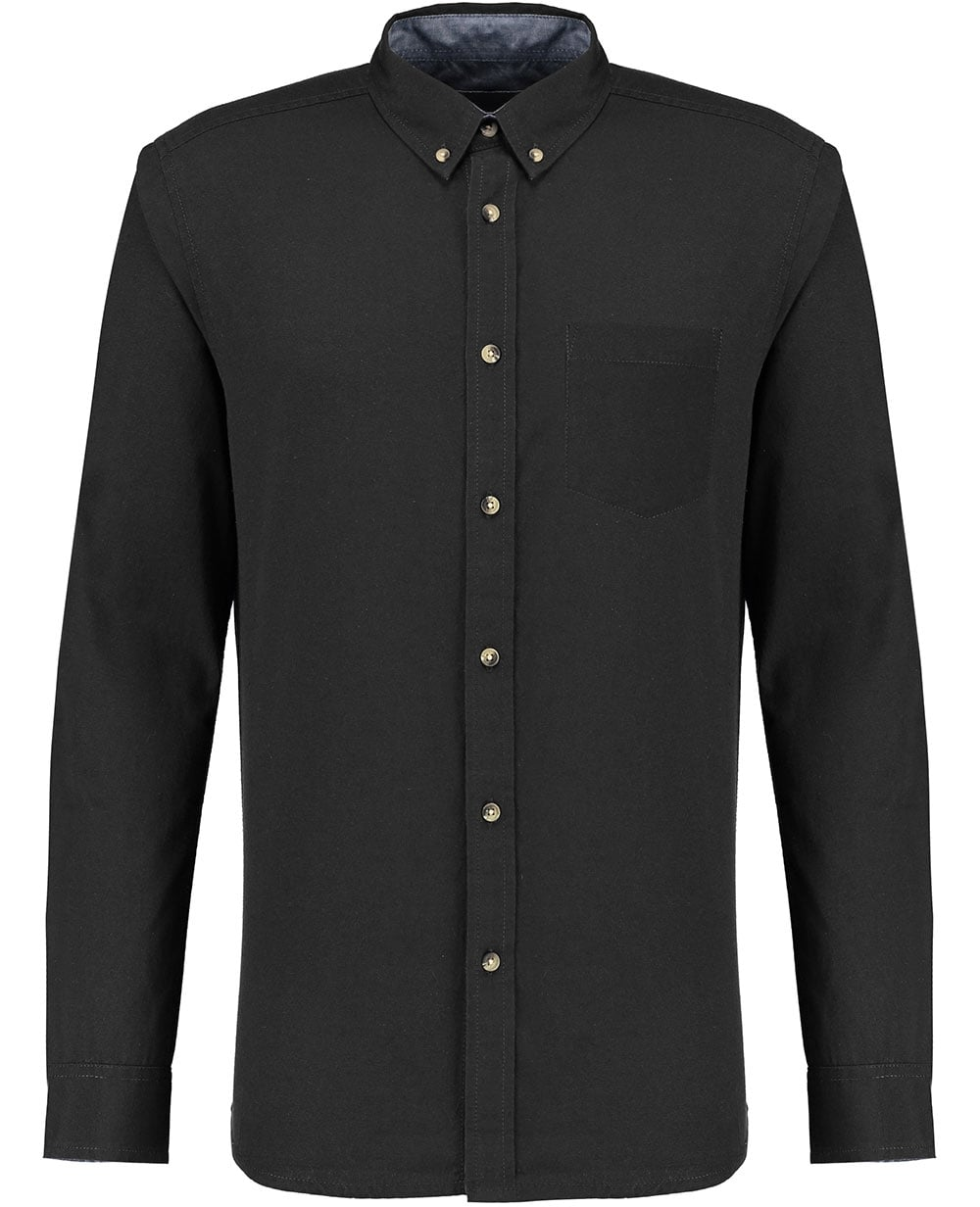 Industrialize mens black long sleeve cotton classic fit for Black oxford button down shirt