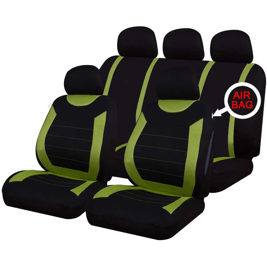 universal car carnaby green black washable seat covers set airbag safe full set. Black Bedroom Furniture Sets. Home Design Ideas