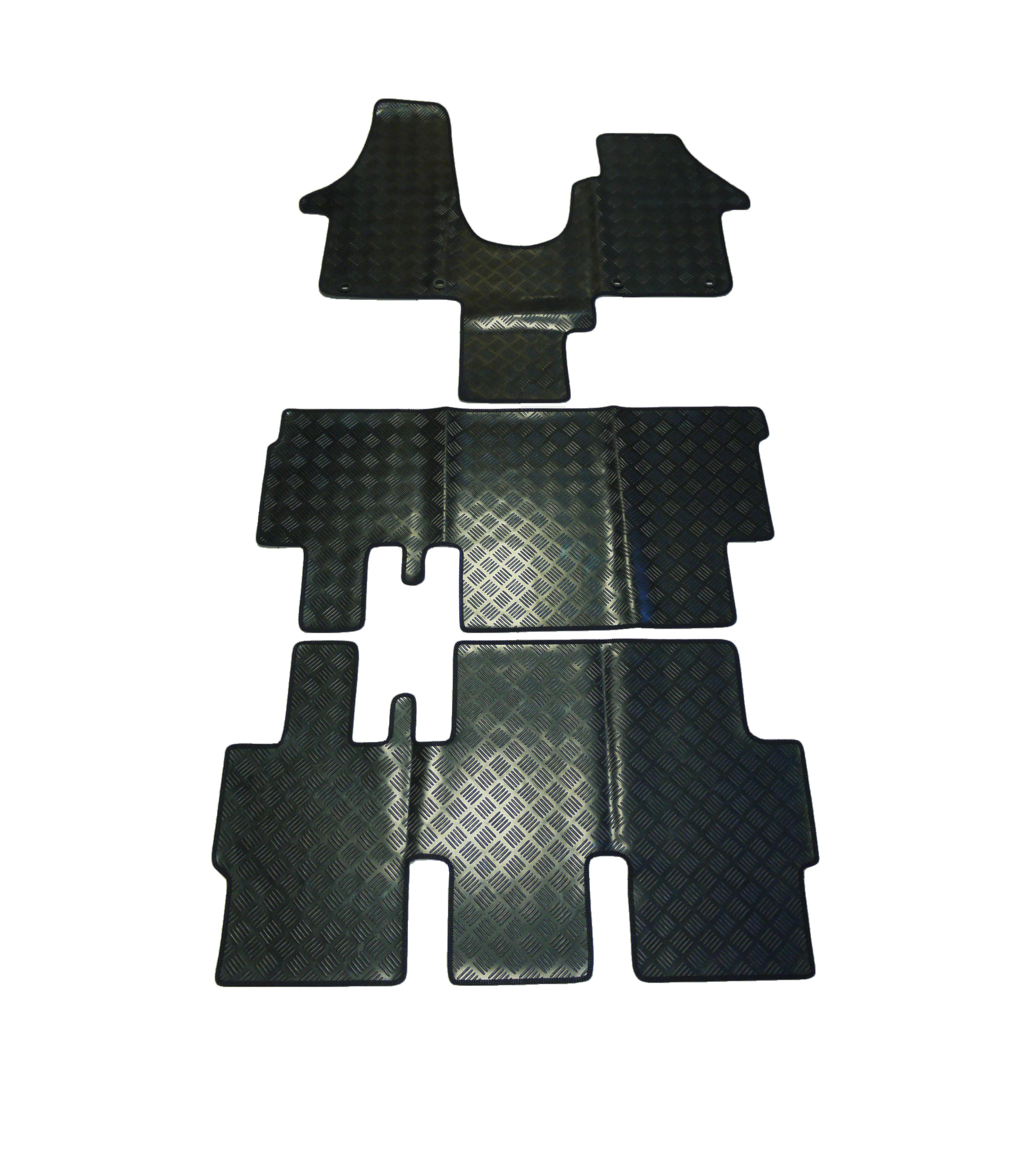 Rubber floor mat jigsaw - Heavy Duty Black Rubber Floor Mats Vw T5 Shuttle 03 15 Single Passenger Seat