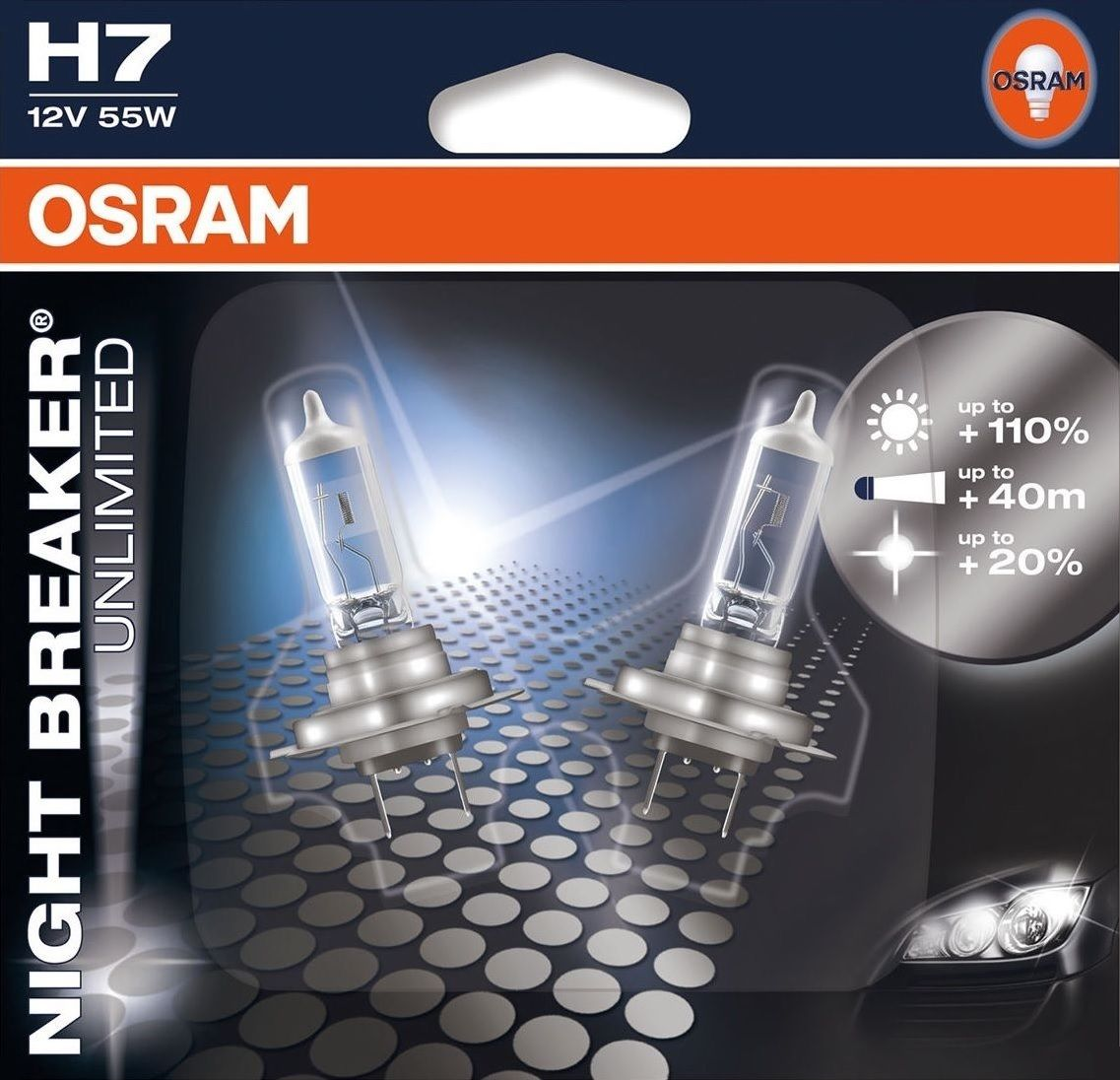h7 osram night breaker unlimited twin blister pack. Black Bedroom Furniture Sets. Home Design Ideas