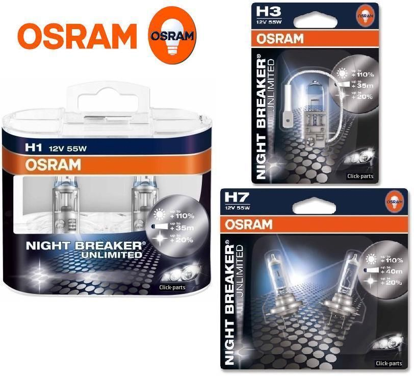osram night breaker unlimited car bulbs h1 h3 h4 h7 hb3 hb4 h11 fittings ebay. Black Bedroom Furniture Sets. Home Design Ideas