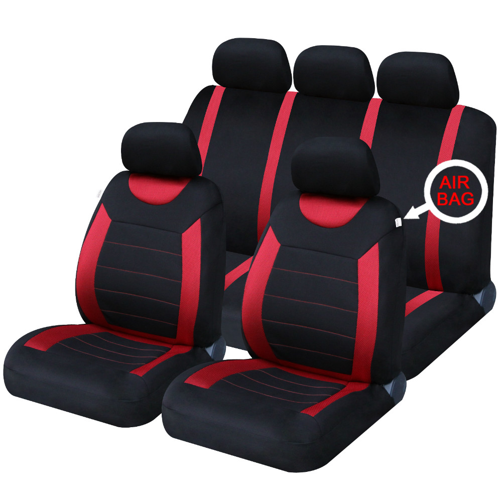universal car carnaby black red seat covers washable airbag safe 8 piece set ebay. Black Bedroom Furniture Sets. Home Design Ideas