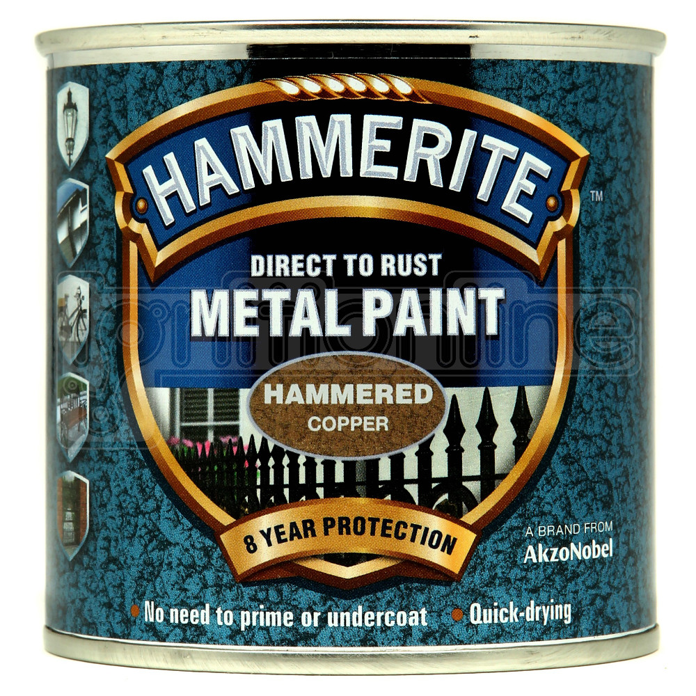 Hammerite direct to rust metal paint quick drying hammered copper