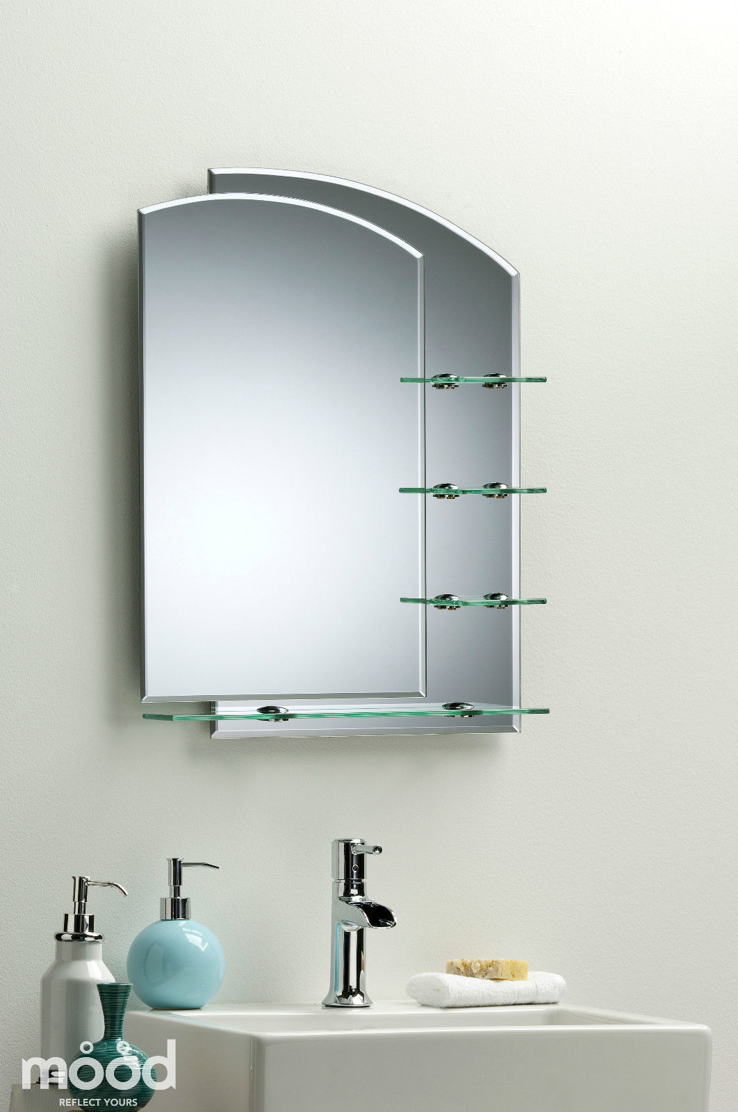 Bathroom Mirror Modern Stylish With Shelves Frameless Wall Mount Plain Shelf Ebay