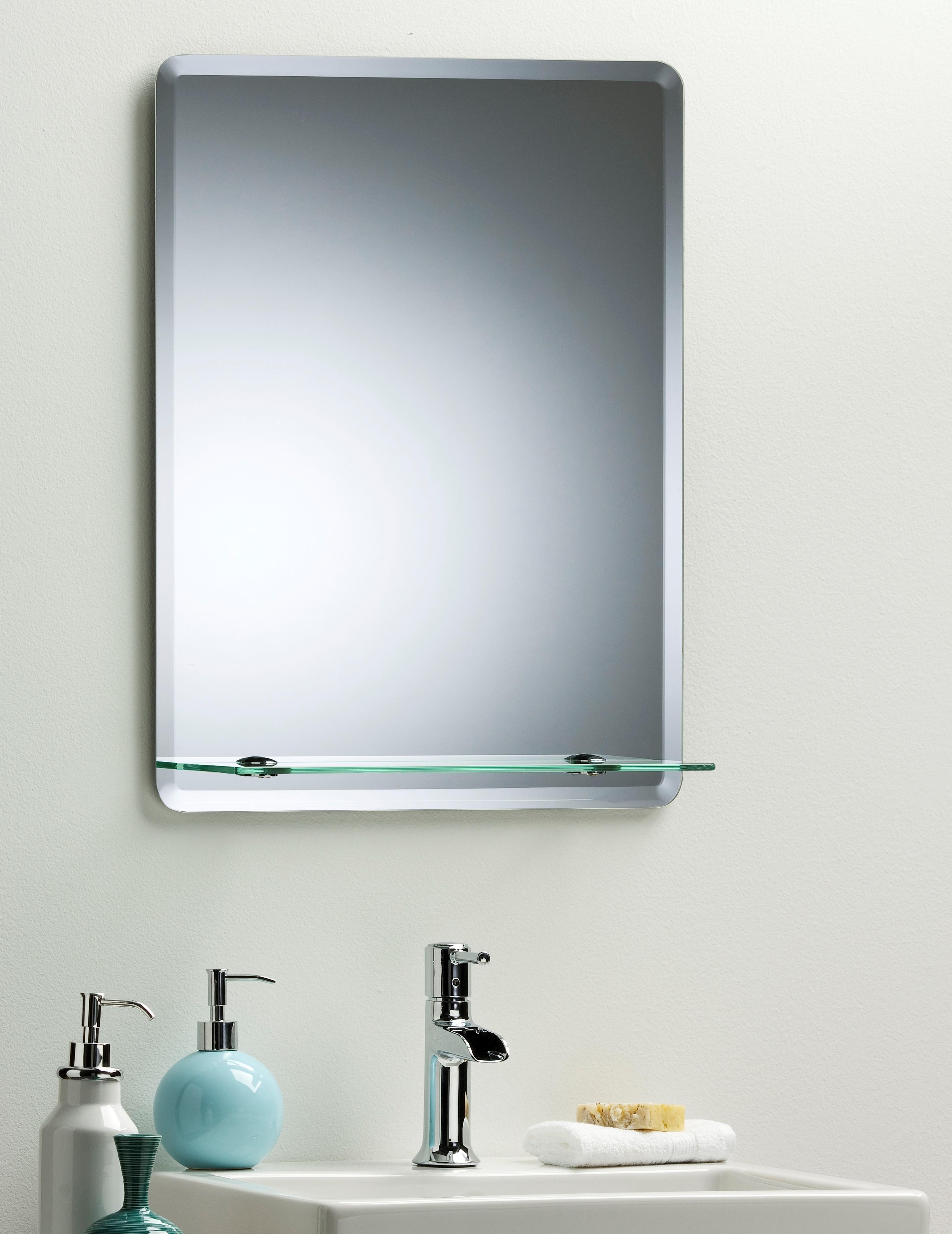 Bathroom mirror with shelf uk - Bathroom Mirror Modern Stylish Rectangular With Shelf Frameless