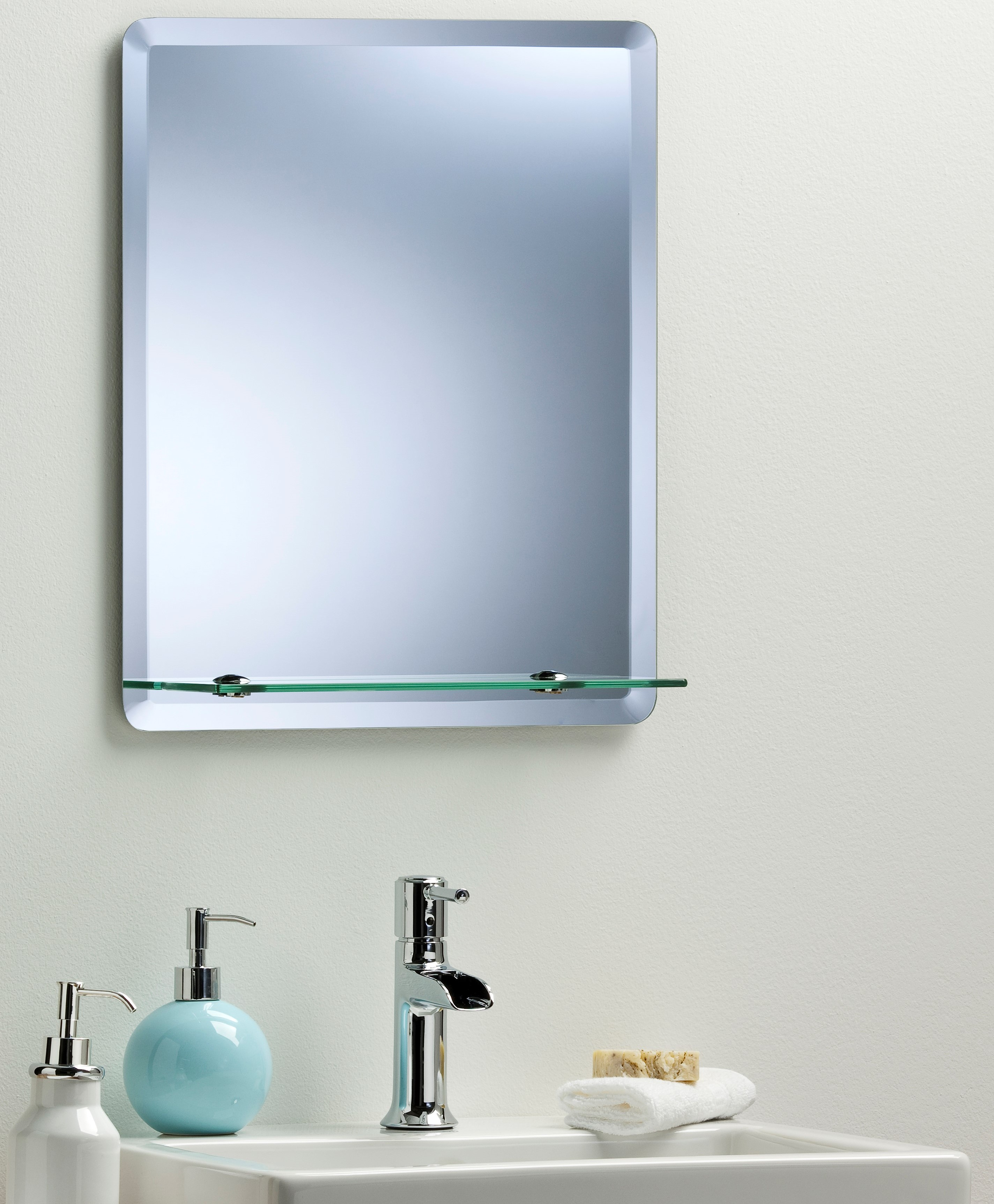 Bathroom mirror modern stylish rectangular with shelf frameless plain wall mount ebay Neue design bathroom mirror