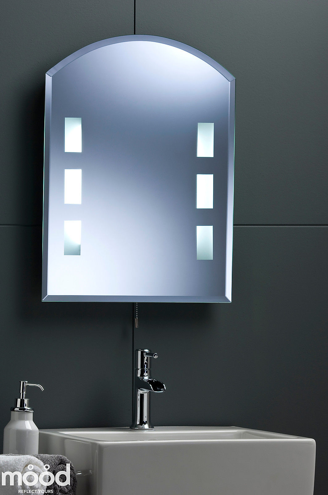 Modern bathroom wall mirror illuminated arch led back lit 60x45 cm ebay Neue design bathroom mirror