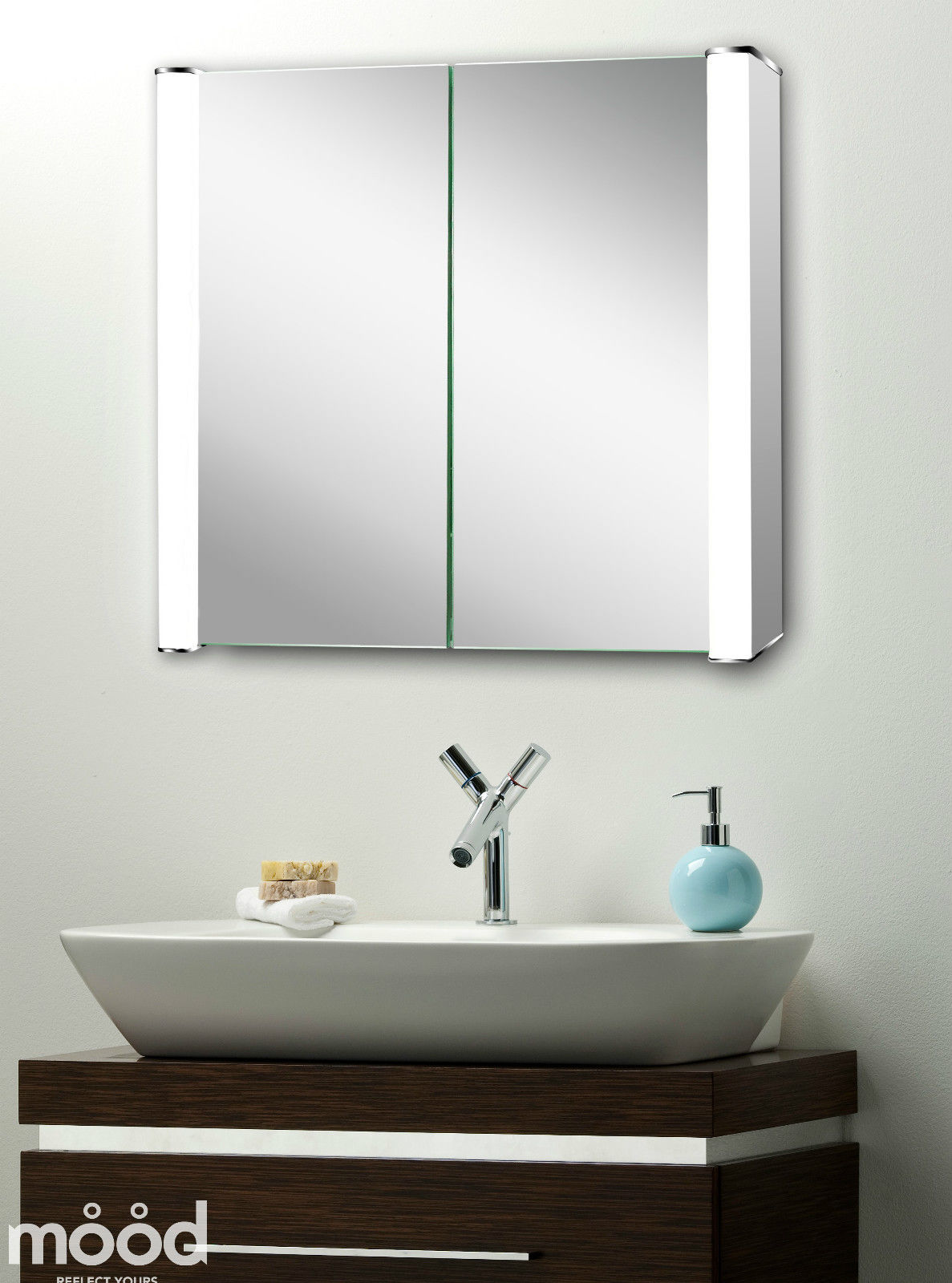 led illuminated bathroom mirror cabinet 60x65 demister shaver