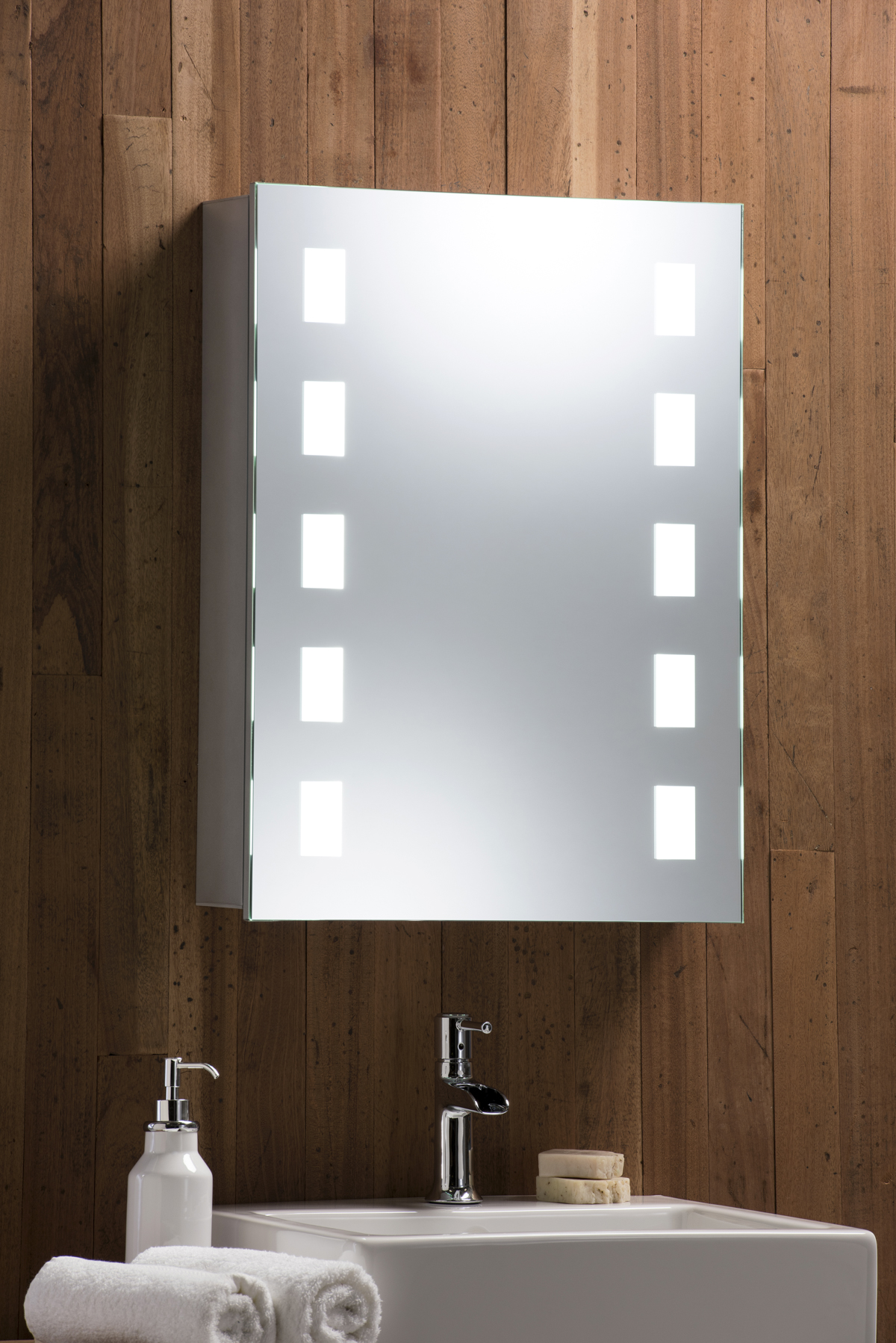 Led illuminated bathroom mirrored cabinet with demister shaver sensor 70x50 c10 ebay Neue design bathroom mirror