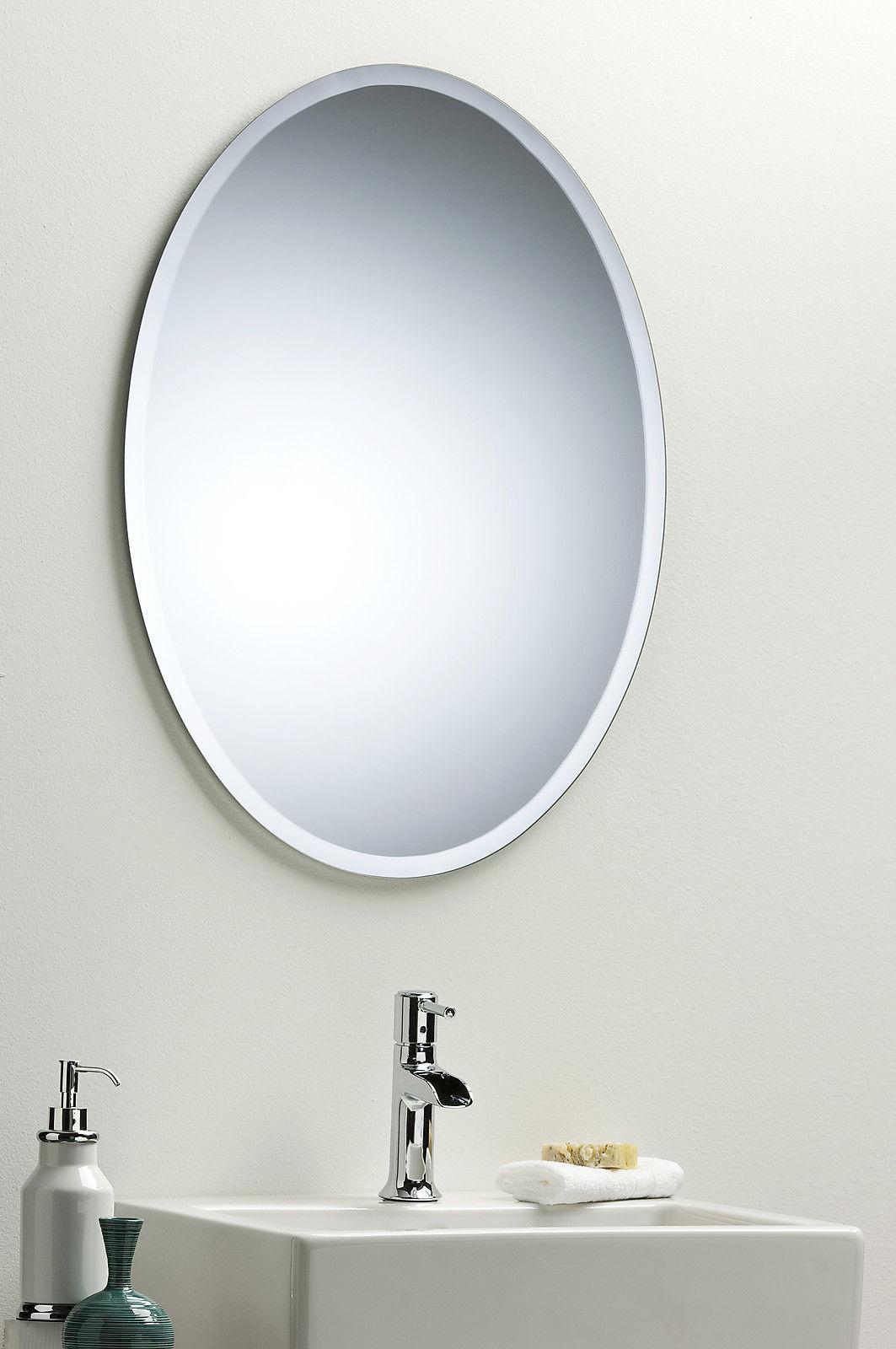 Bathroom Wall Mirror Modern Stylish Oval With Bevel Frameless Plain Ebay