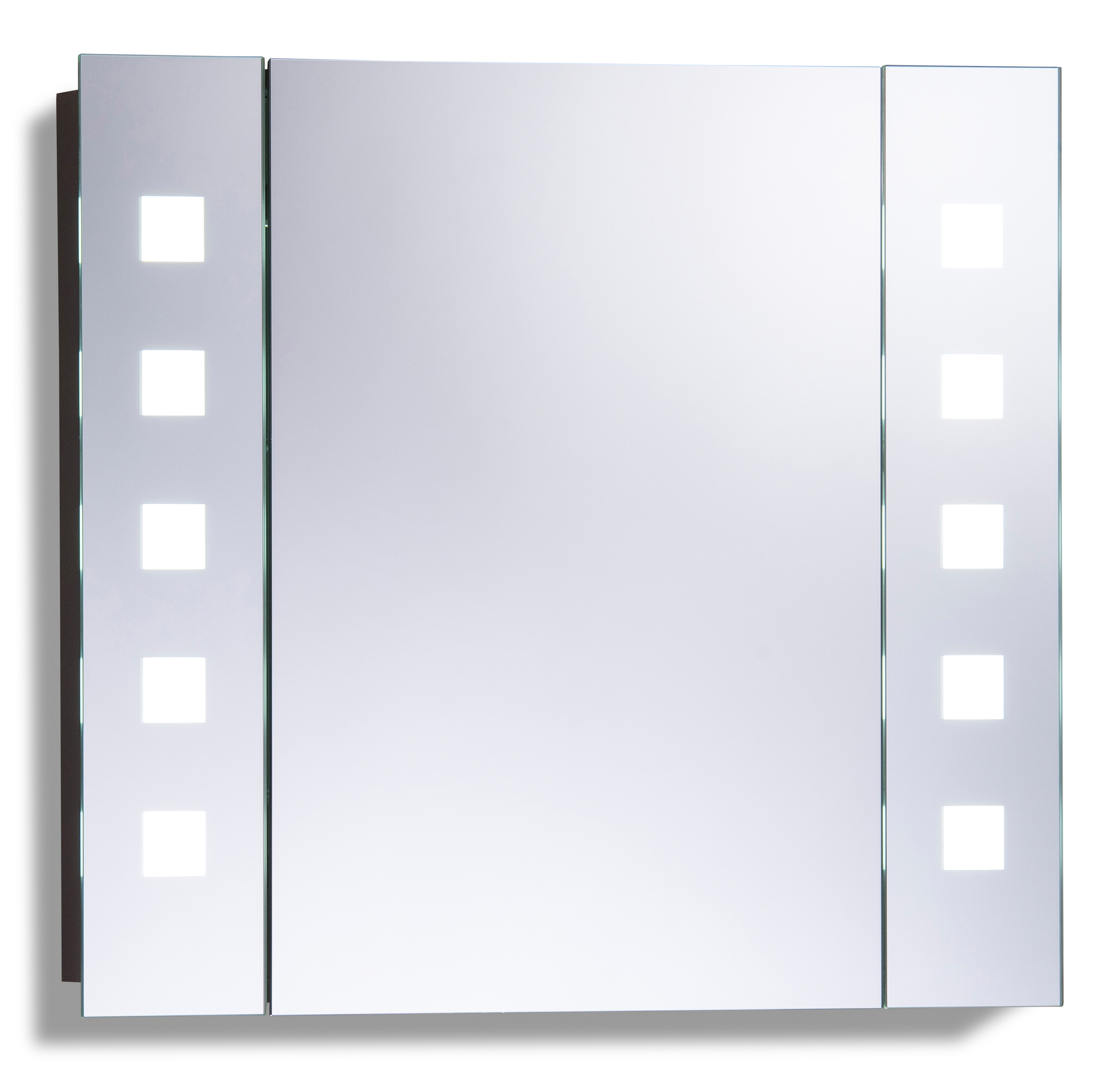 led illuminated bathroom mirrored cabinet 60x65cm demister shaver