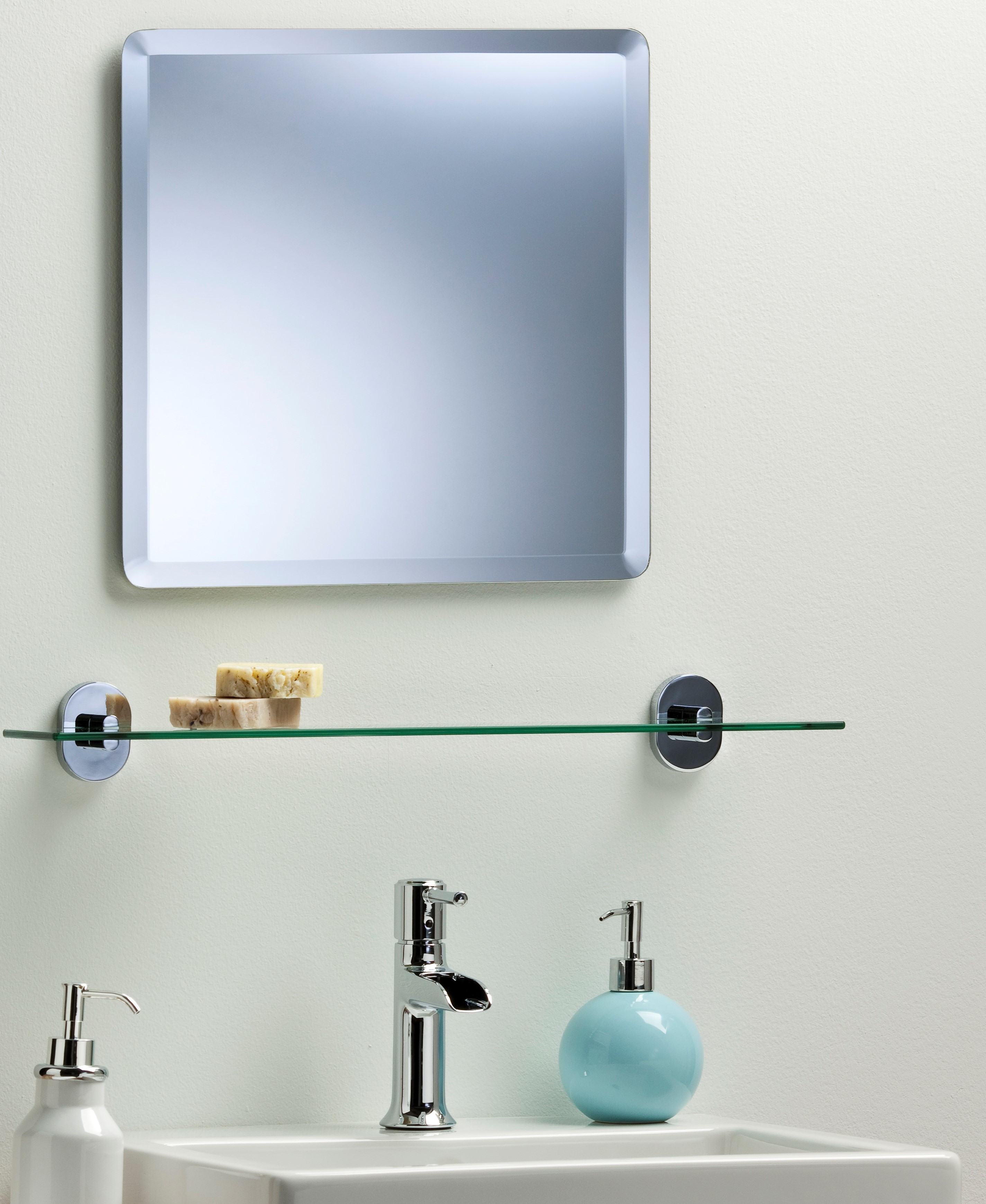 Bathroom wall mirror simple design square with bevel frameless plain ebay Neue design bathroom mirror