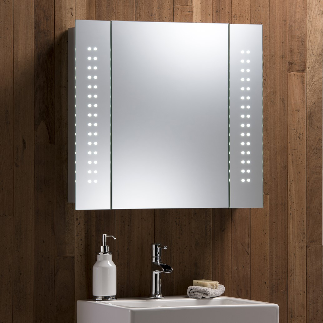 Led bathroom mirror cabinet with lights demister shaver for Bathroom cabinets led