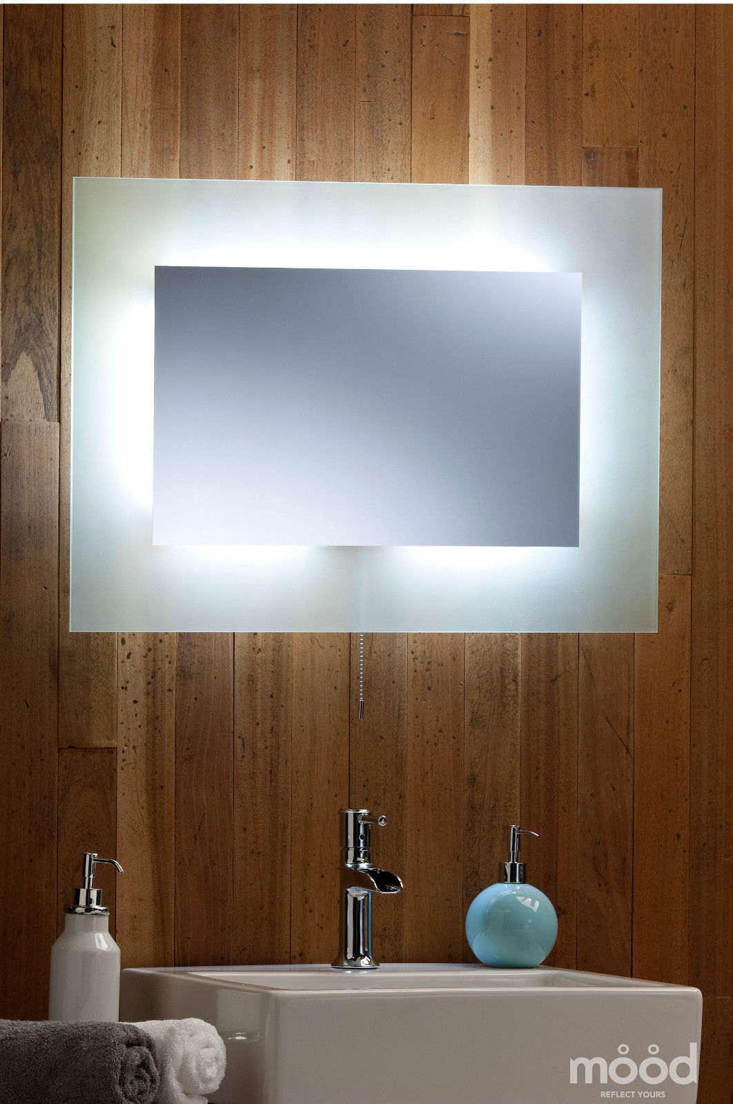 Bathroom wall mirror led ambient surround light with for Mirror 50 x 70