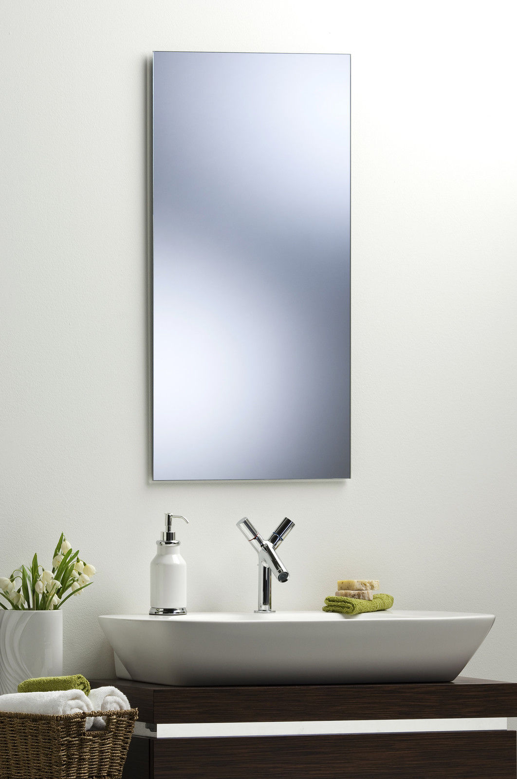 bathroom mirror modern stylish rectangular hang both ways
