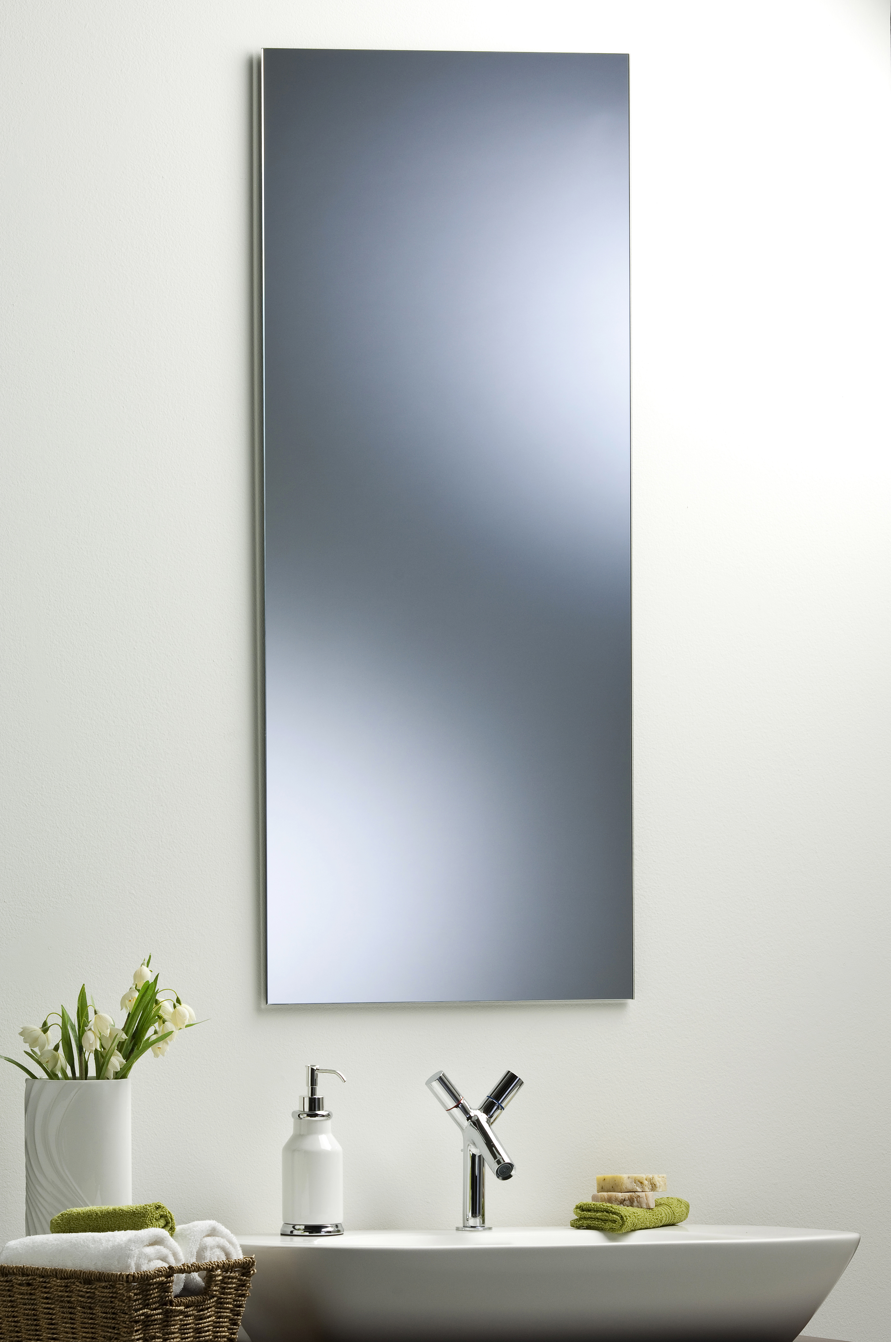 Bathroom mirror modern stylish rectangular hang both ways plain wall mounted ebay Neue design bathroom mirror
