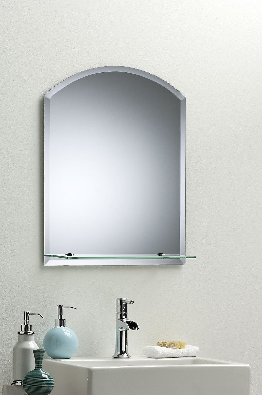 Bathroom Wall Mirror Modern Stylish Arch With Shelf And Bevel Frameless Plain Ebay