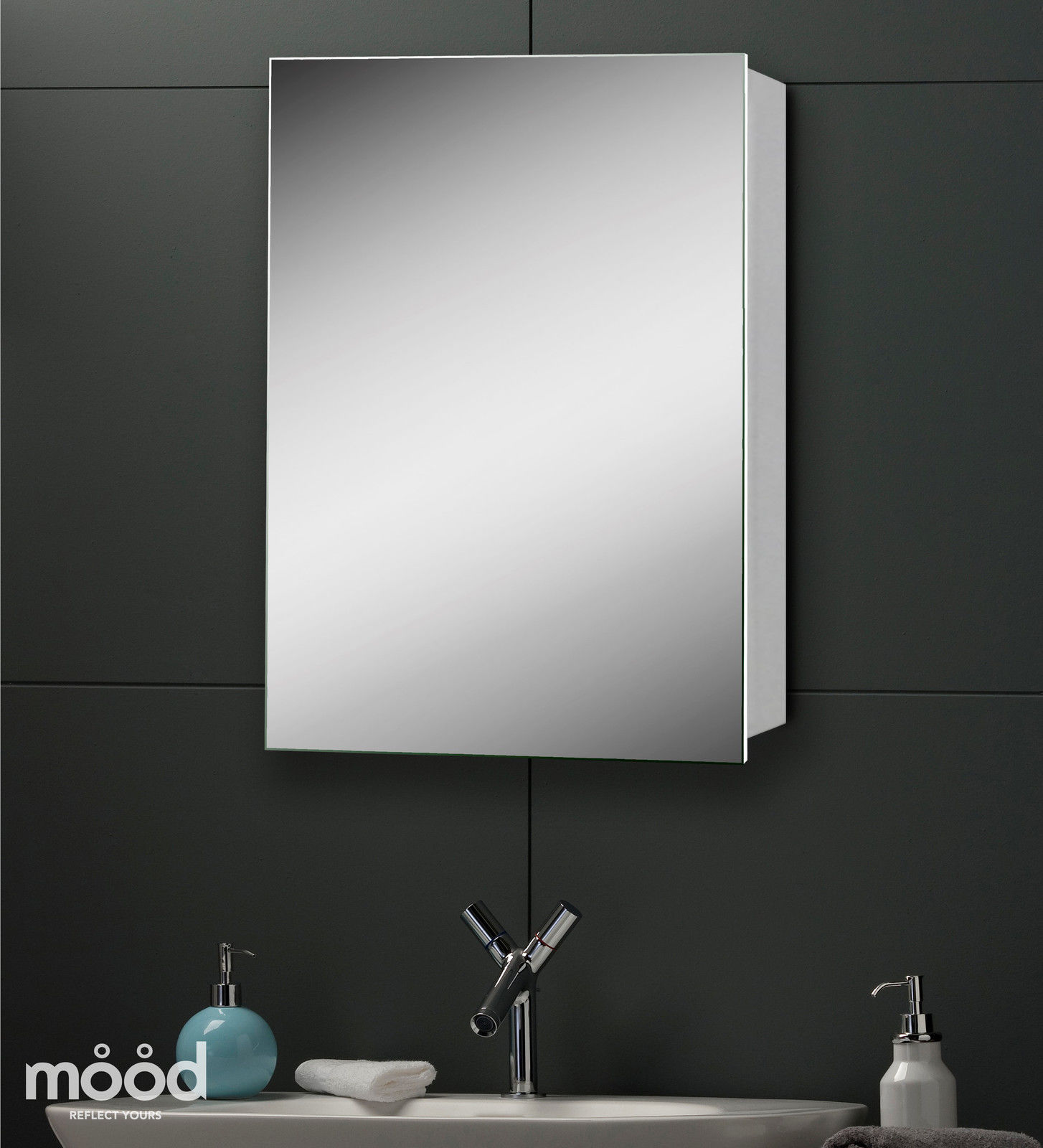 Elegant slim aluminium bathroom mirror cabinet 70x50 with mirror inside c21 ebay Neue design bathroom mirror