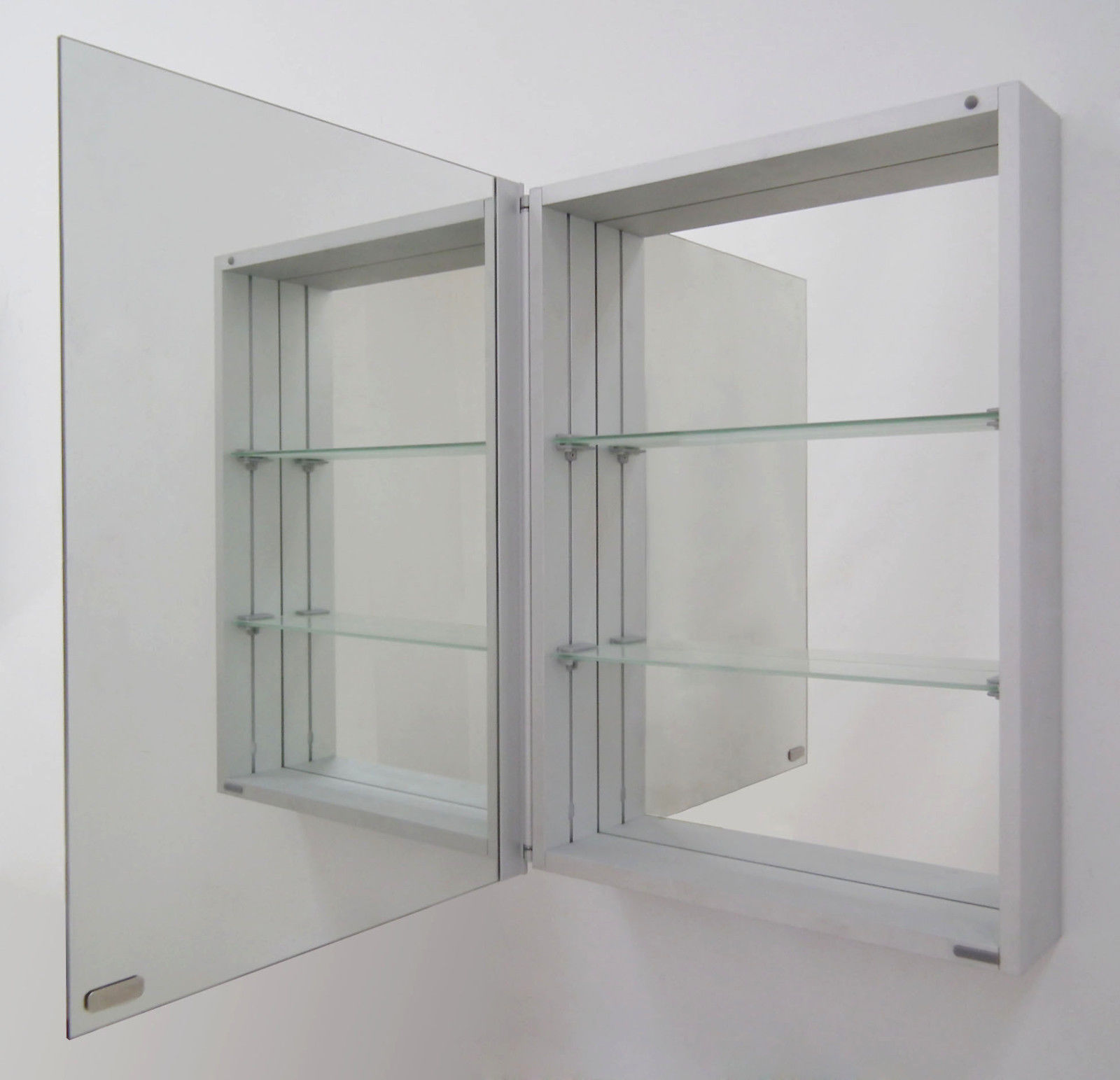 Elegant slim aluminium bathroom mirror cabinet 70x50 with for Slim mirrored bathroom cabinet