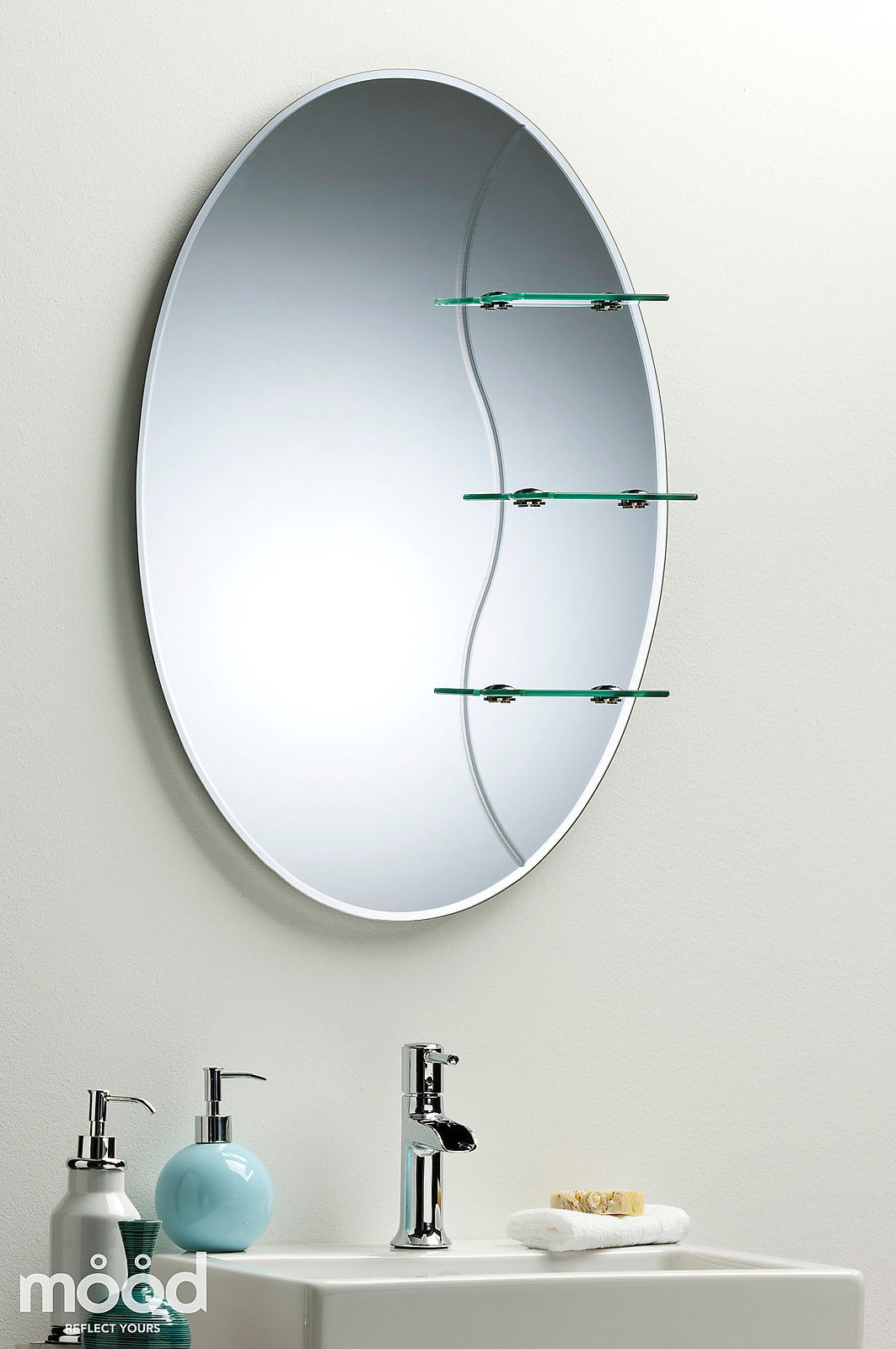 Etched bathroom mirror elegant oval with shelf wall mounted plain ebay Neue design bathroom mirror