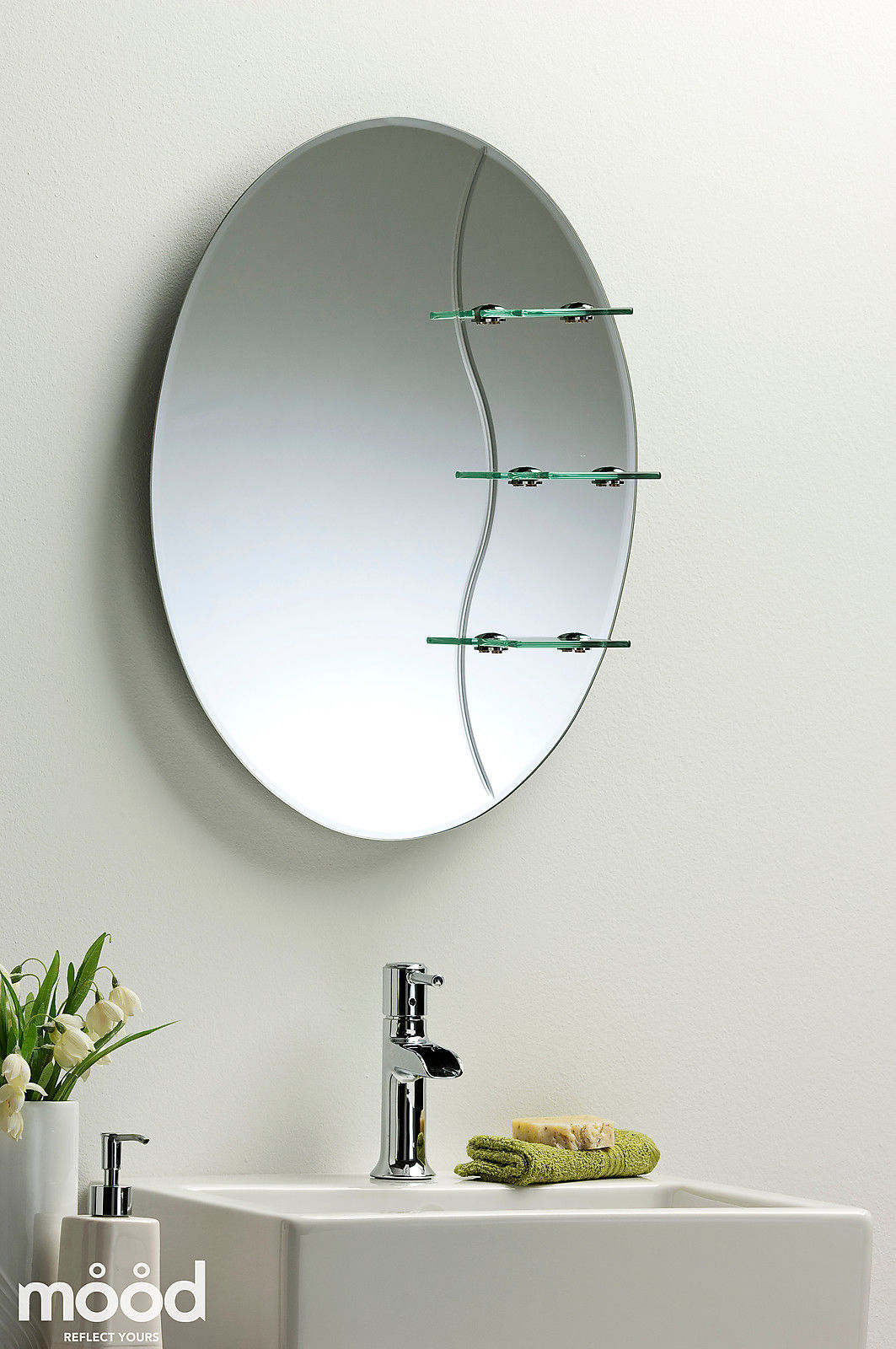 Etched Bathroom Mirror Elegant Oval With Shelf Wall Mounted Plain Ebay