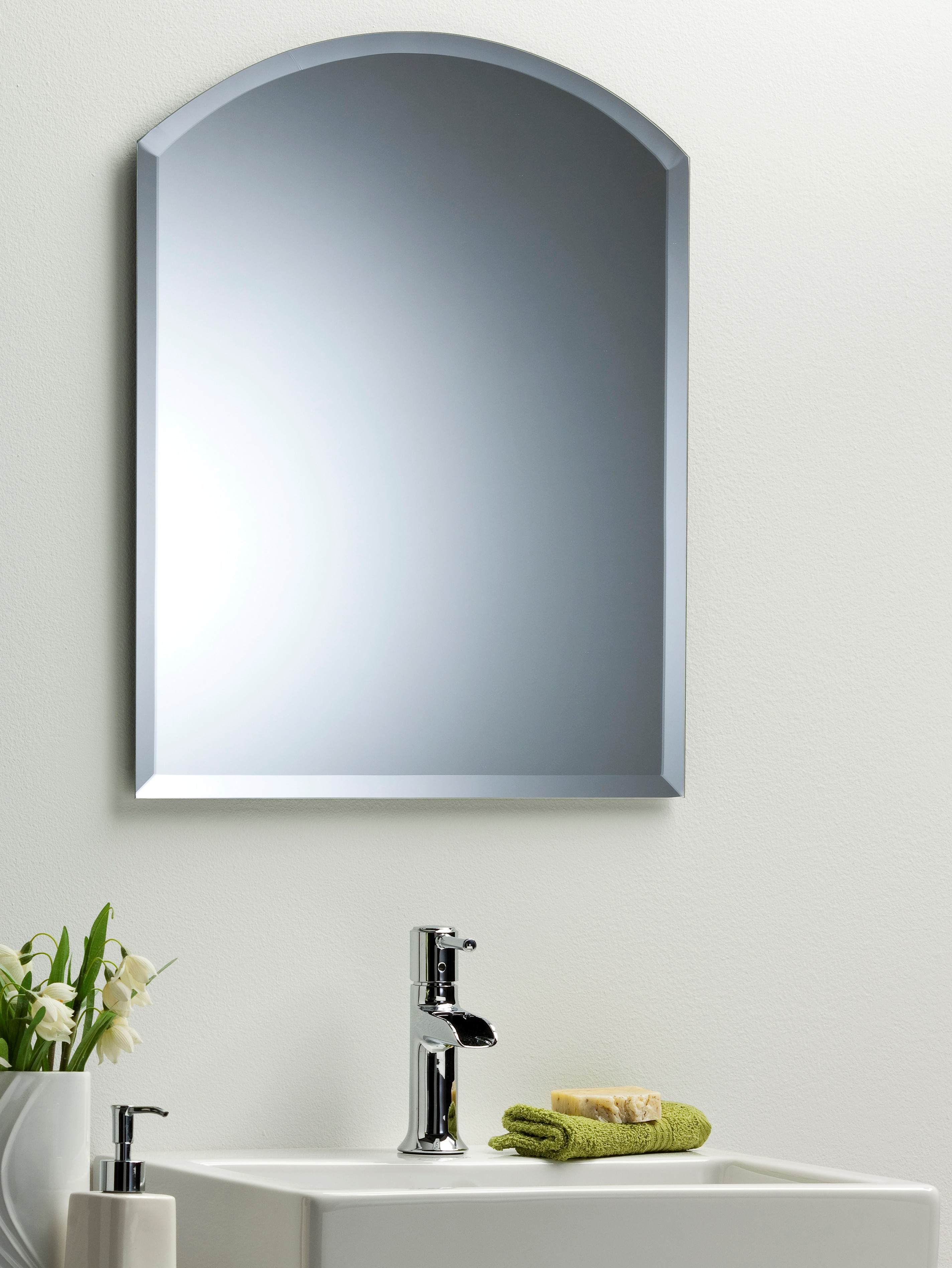 Simple Bathroom Mirror Beautiful Arch With Bevel Plain Wall Mounted 2 Sizes Ebay
