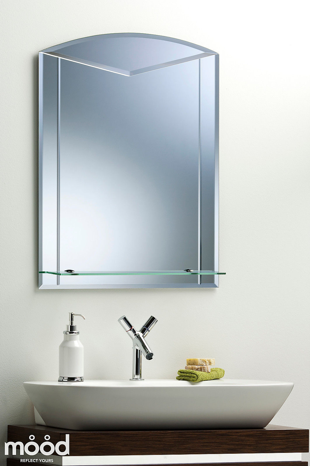 Unique arch bathroom wall mirror with shelf etched detail plain large 80x60 ebay Neue design bathroom mirror