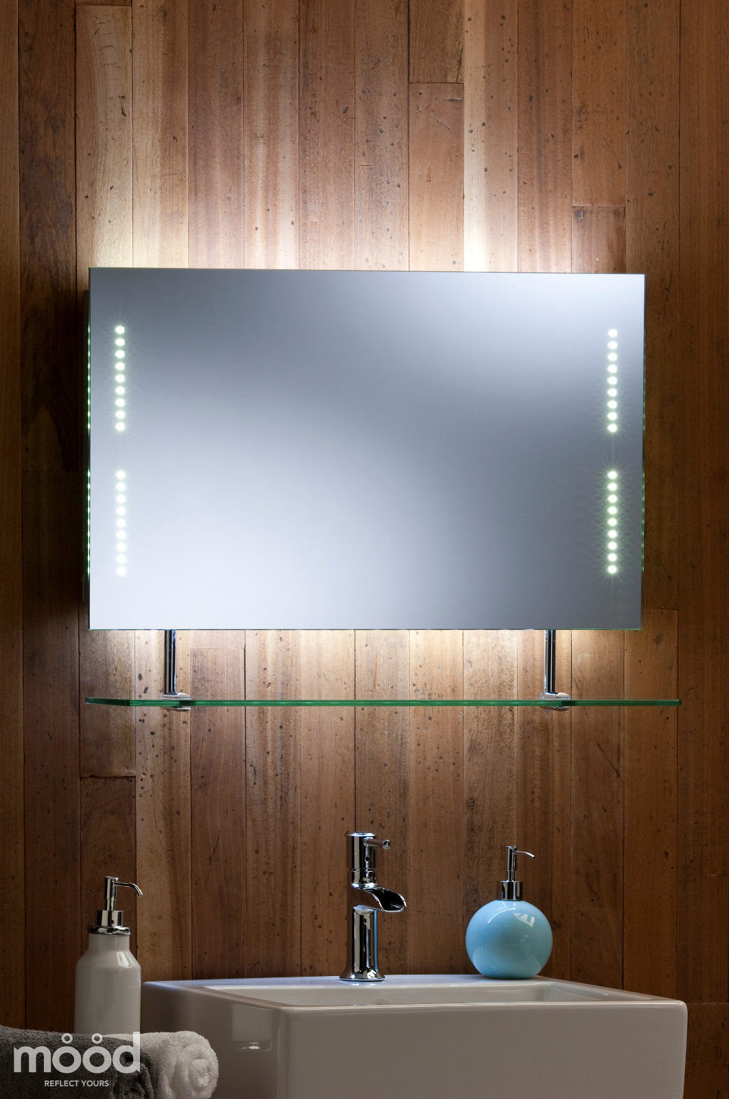 Bathroom mirror shelf shaver 70cm x led lights rectangle 30del ebay Neue design bathroom mirror